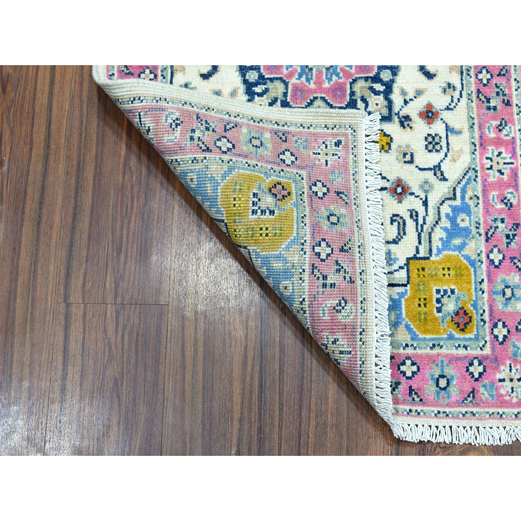 "2'1""x3'  Colorful Ivory Fusion Kazak Pure Wool Hand Knotted Oriental Rug"