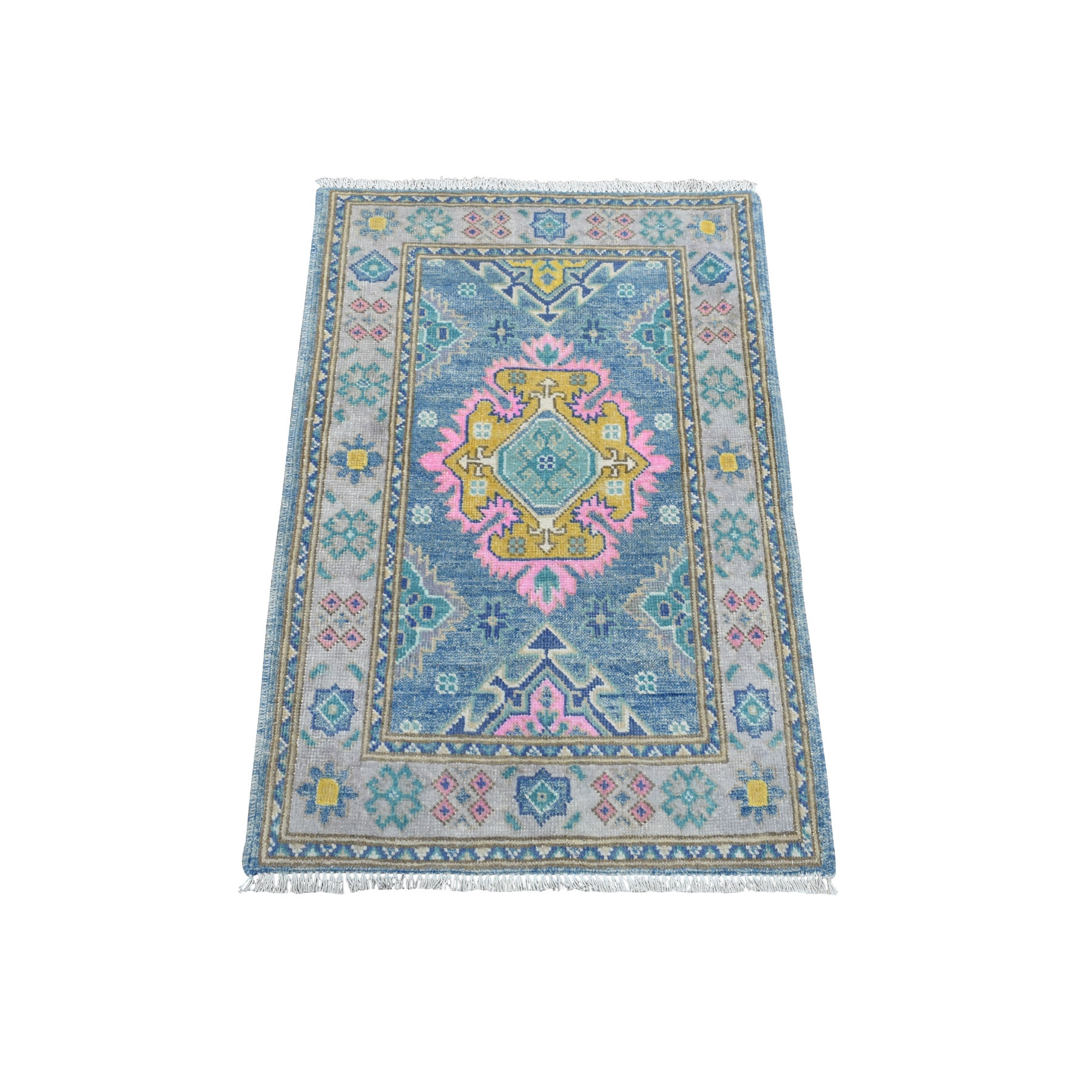 "2'1""x3'2"" Colorful Blue Fusion Kazak Pure Wool Geometric Design Hand Knotted Oriental Rug 54320"