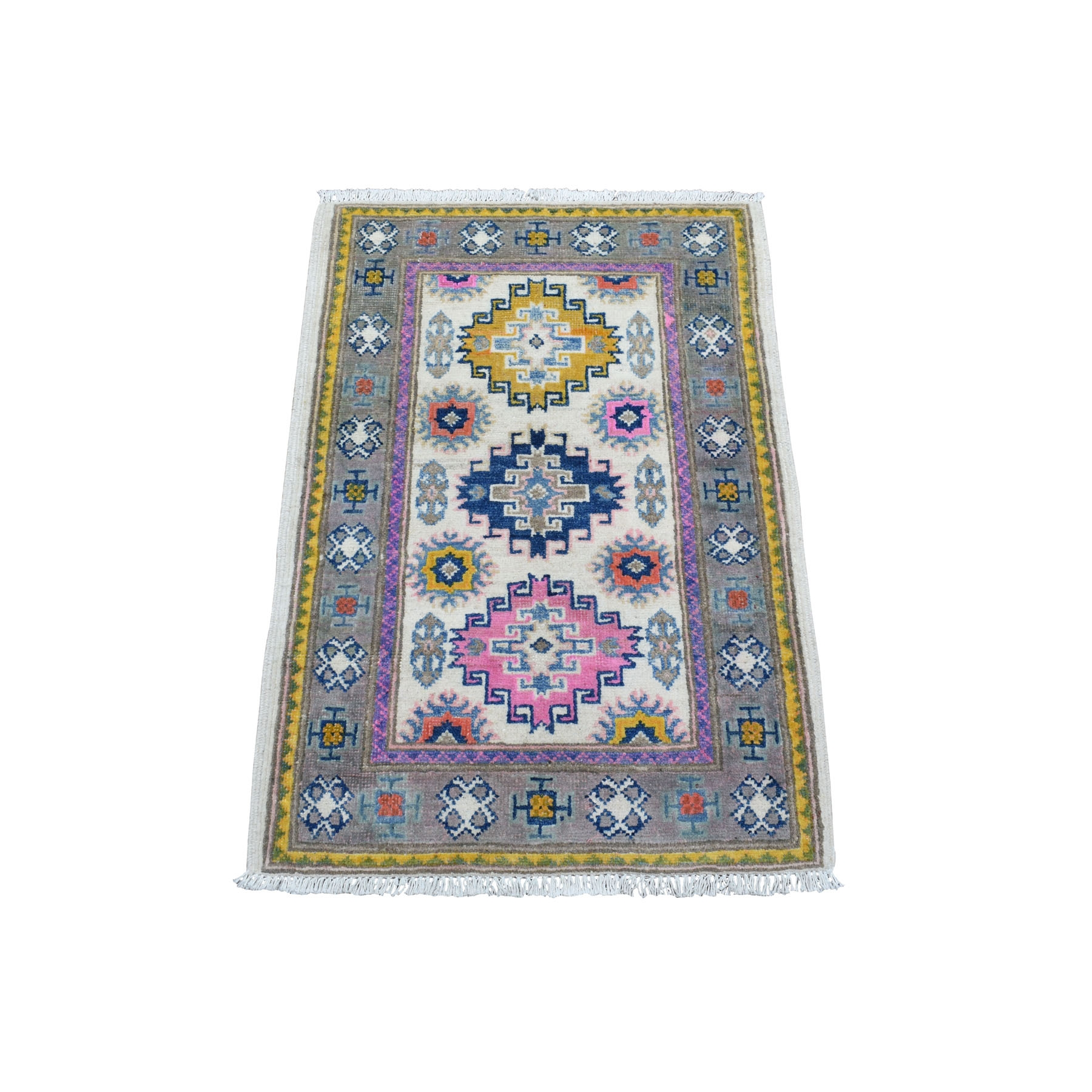 2'X3' Colorful Ivory Fusion Kazak Pure Wool Hand Knotted Oriental Rug moaedcba