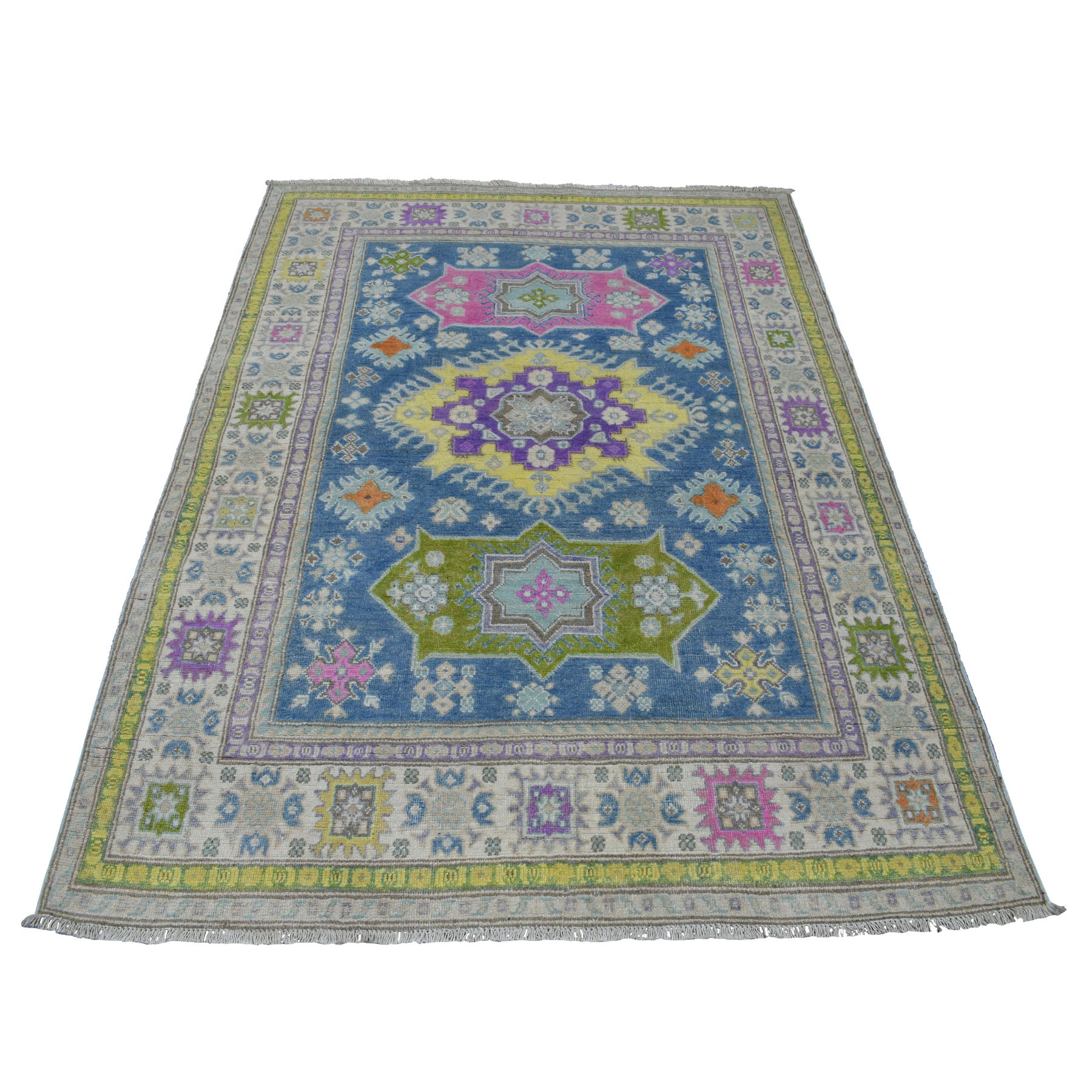 "4'9""x6'4"" Colorful Blue Fusion Kazak Pure Wool Geometric Design Hand Knotted Oriental Rug"