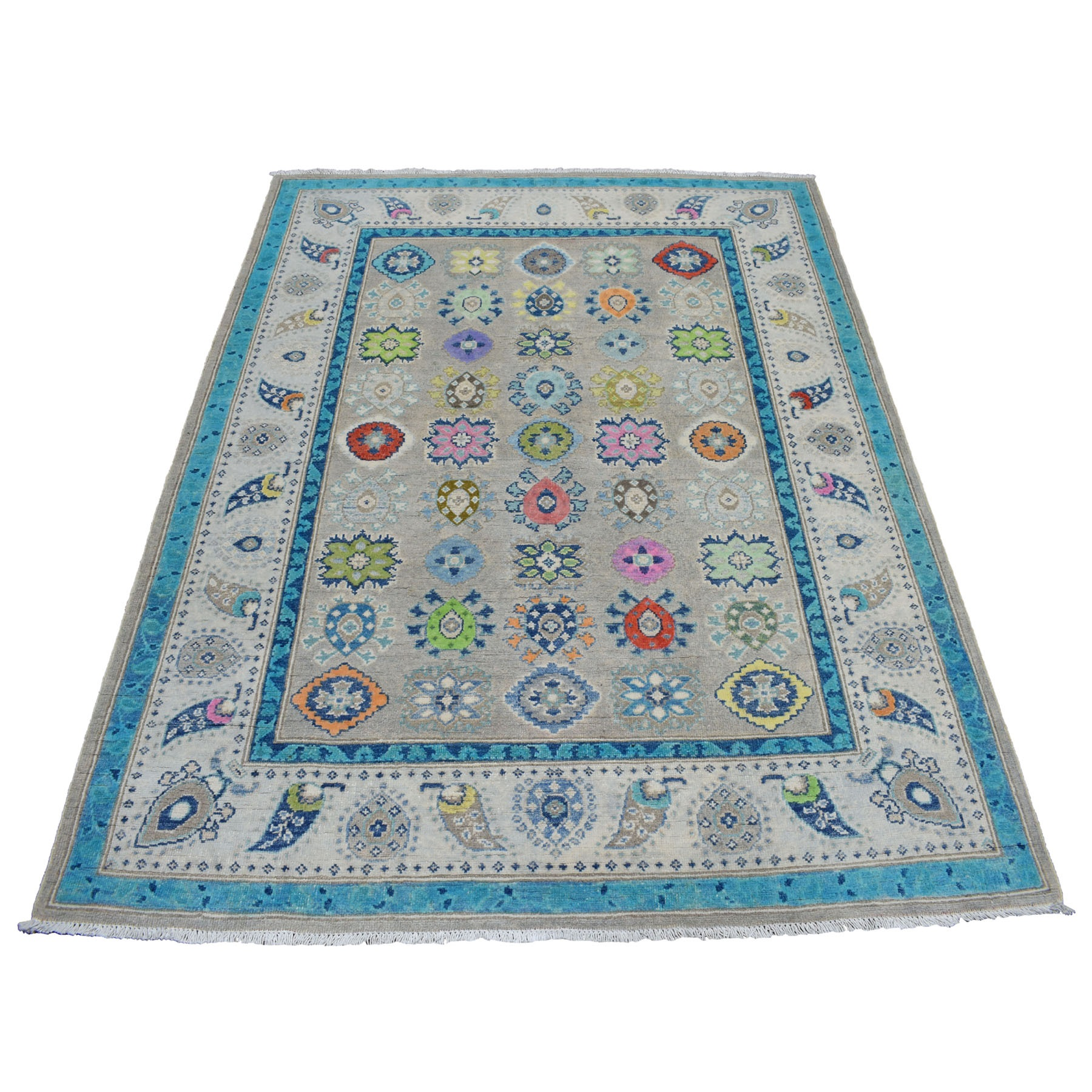 "5'X6'4"" Colorful Gray Fusion Kazak Pure Wool Geometric Design Hand Knotted Oriental Rug moaedcbc"
