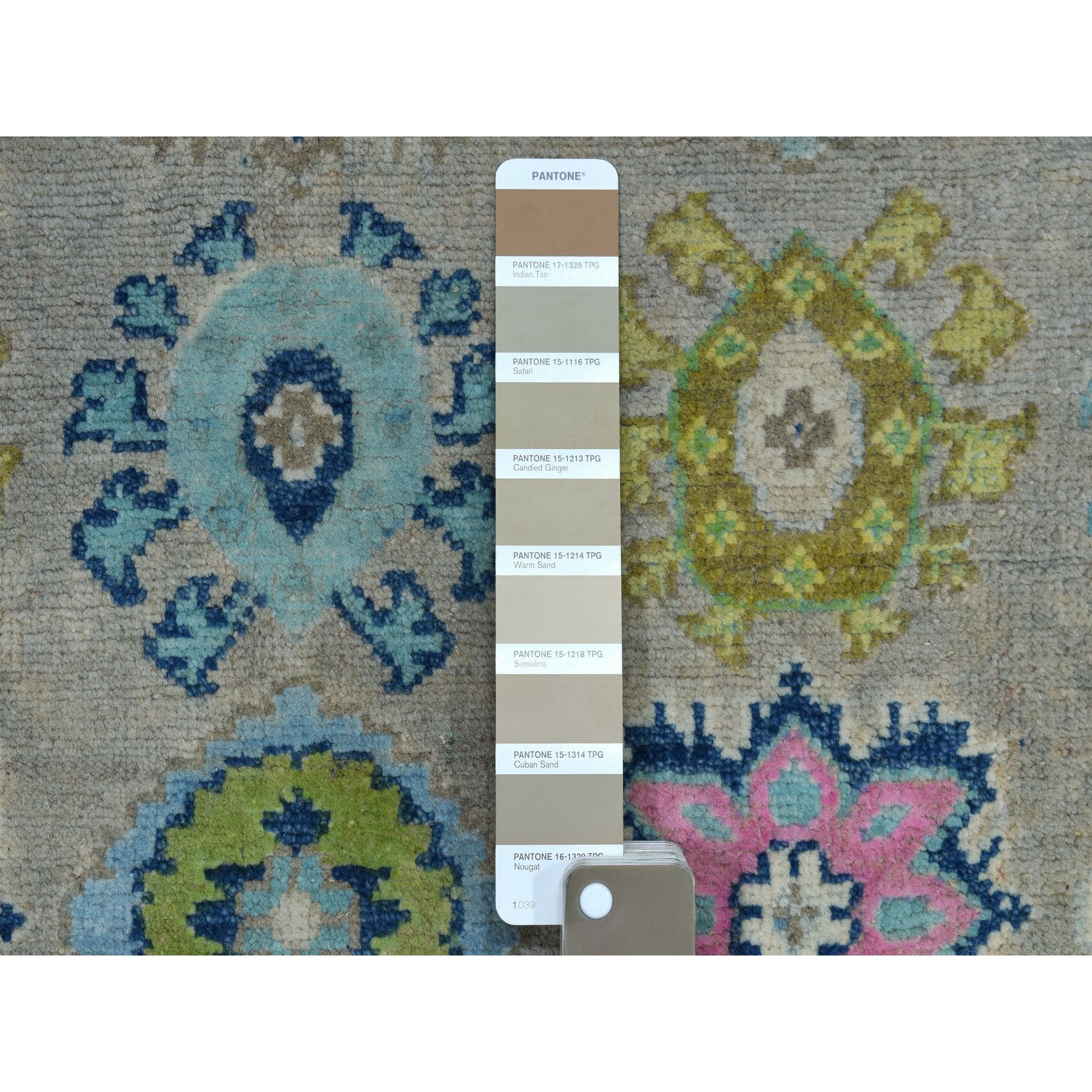 """5'x6'4"""" Colorful Gray Fusion Kazak Pure Wool Geometric Design Hand Knotted Oriental Rug"""