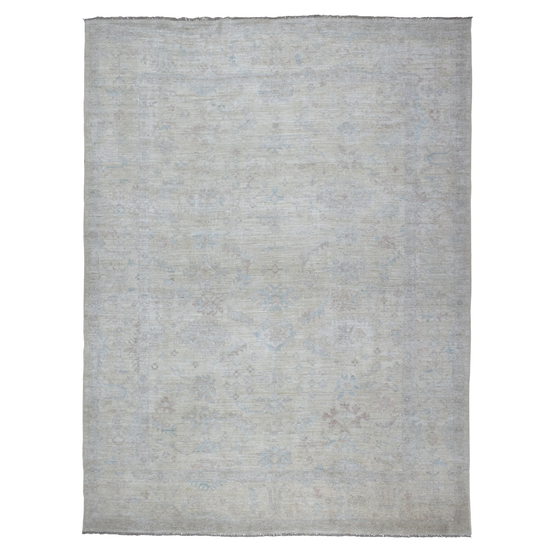 "9'3""x12'3"" Ivory Angora Oushak With Soft Velvety Wool Hand Knotted Oriental Rug"