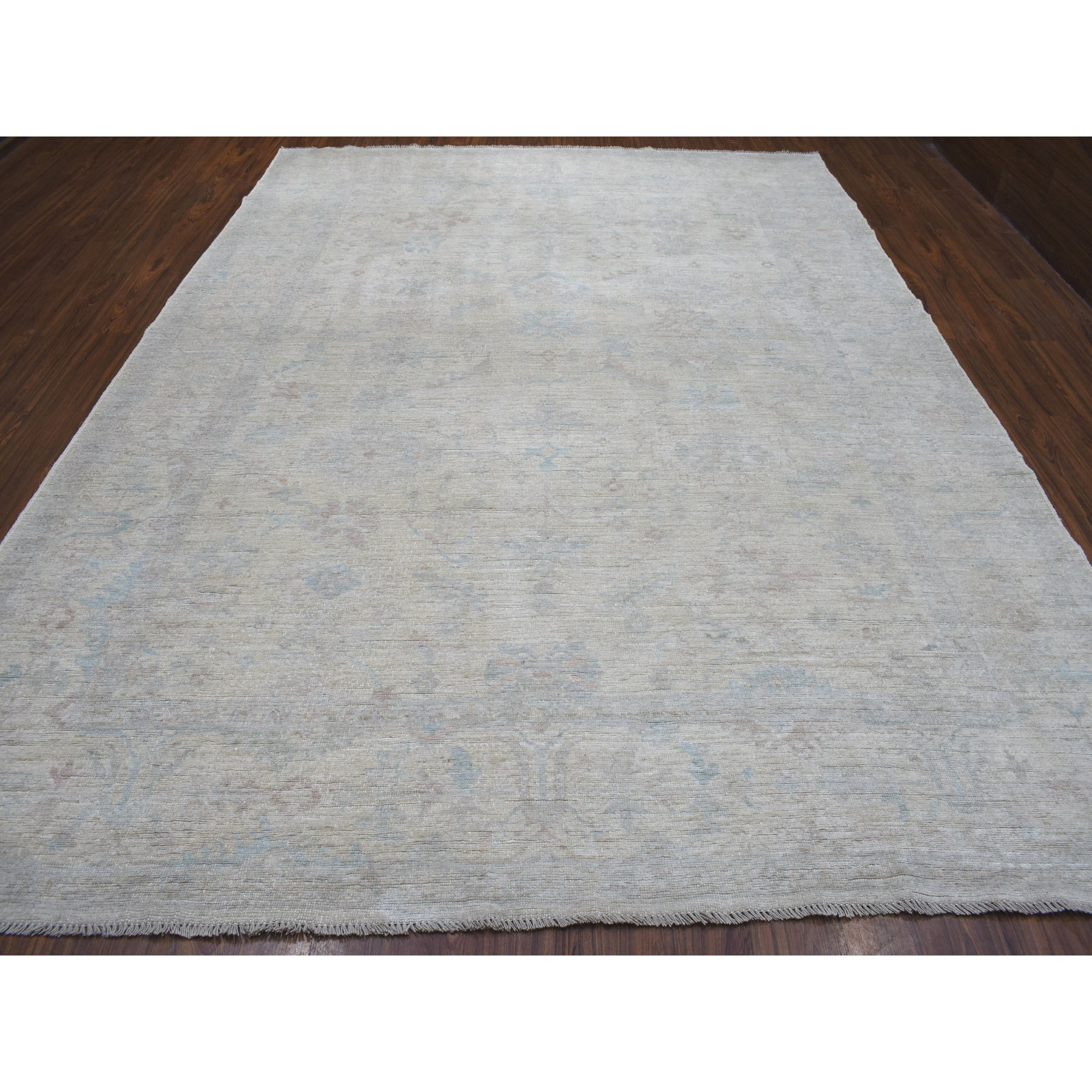 """9'3""""x12'3"""" Ivory Angora Oushak With Soft Velvety Wool Hand Knotted Oriental Rug"""