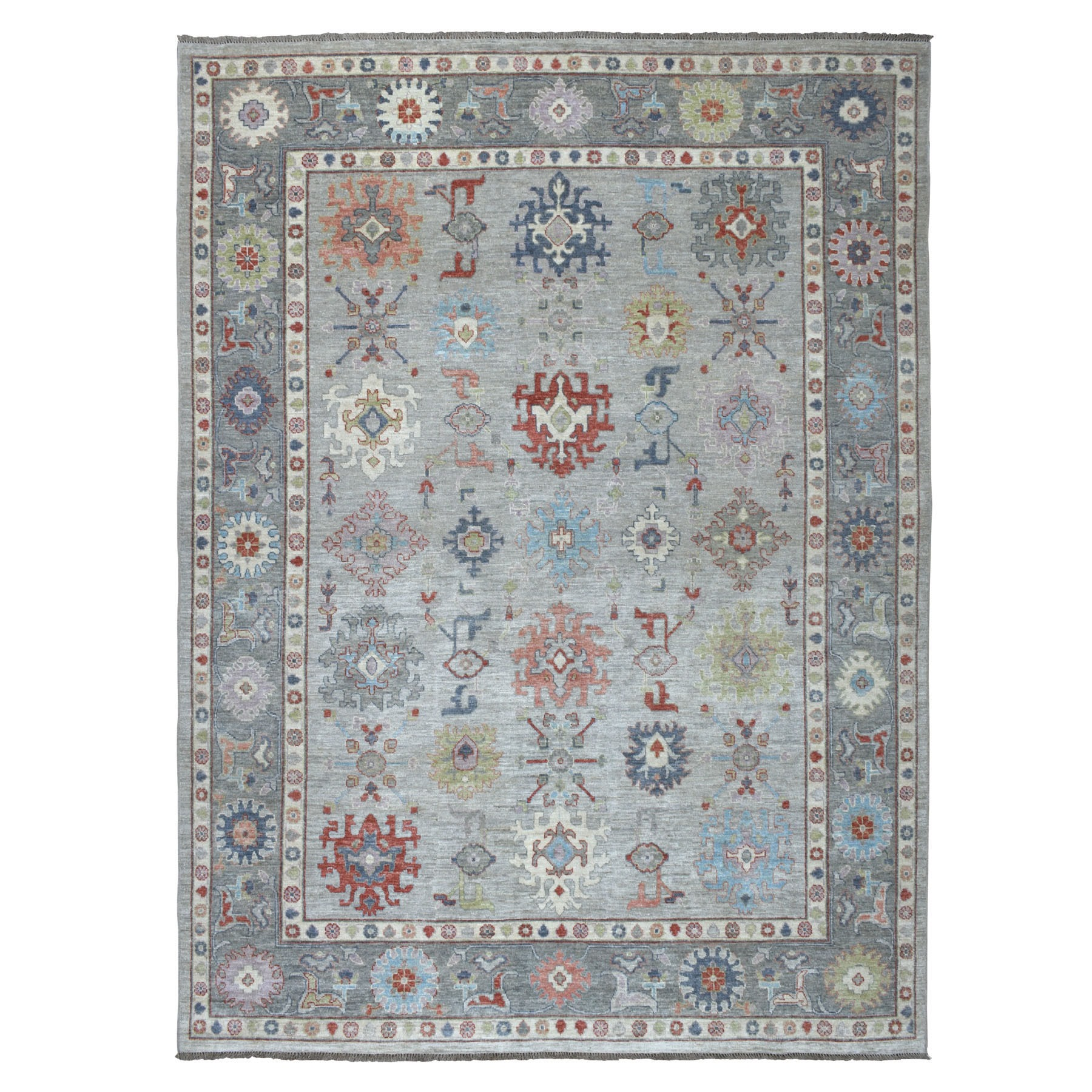 "8'10""X11'10"" Silver Angora Oushak With Soft Velvety Wool Hand Knotted Oriental Rug moaedcb9"