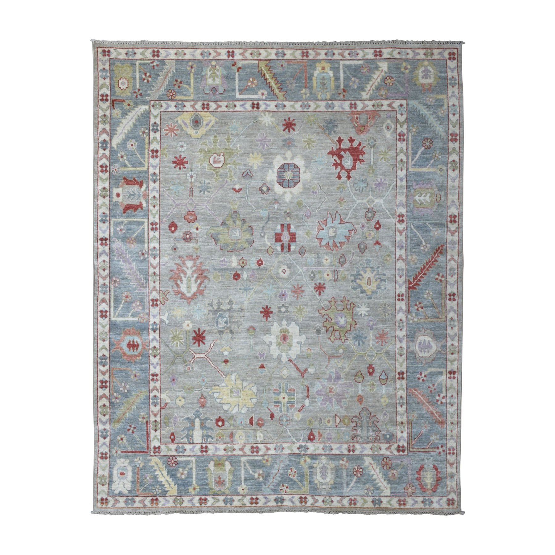 "7'10""X9'7"" Gray Angora Oushak With Pop Of Color Soft Velvety Wool Hand Knotted Oriental Rug moaedcca"