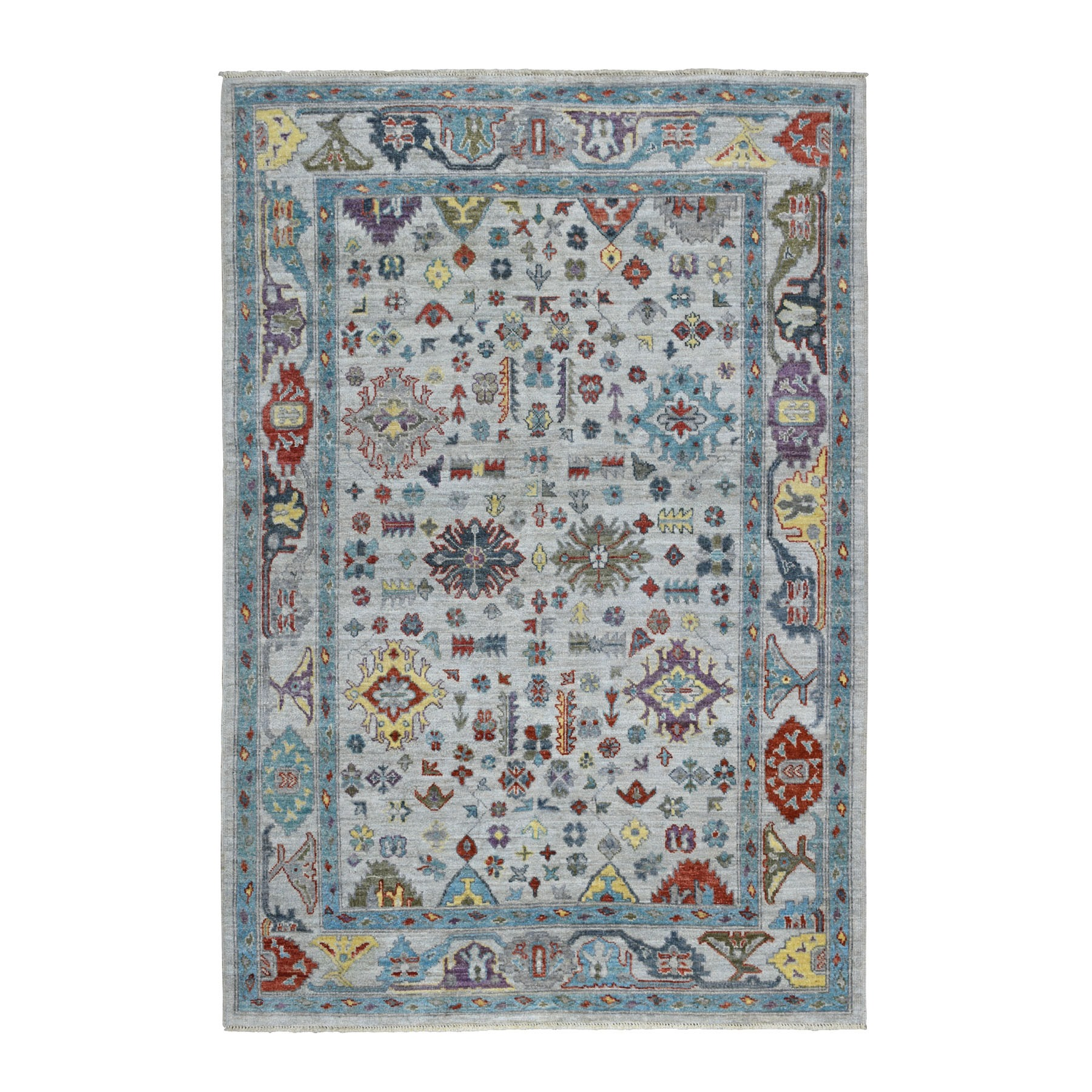 """6'3""""X9'1"""" Gray Angora Oushak With Soft Velvety Wool Hand Knotted Oriental Rug moaedcd0"""