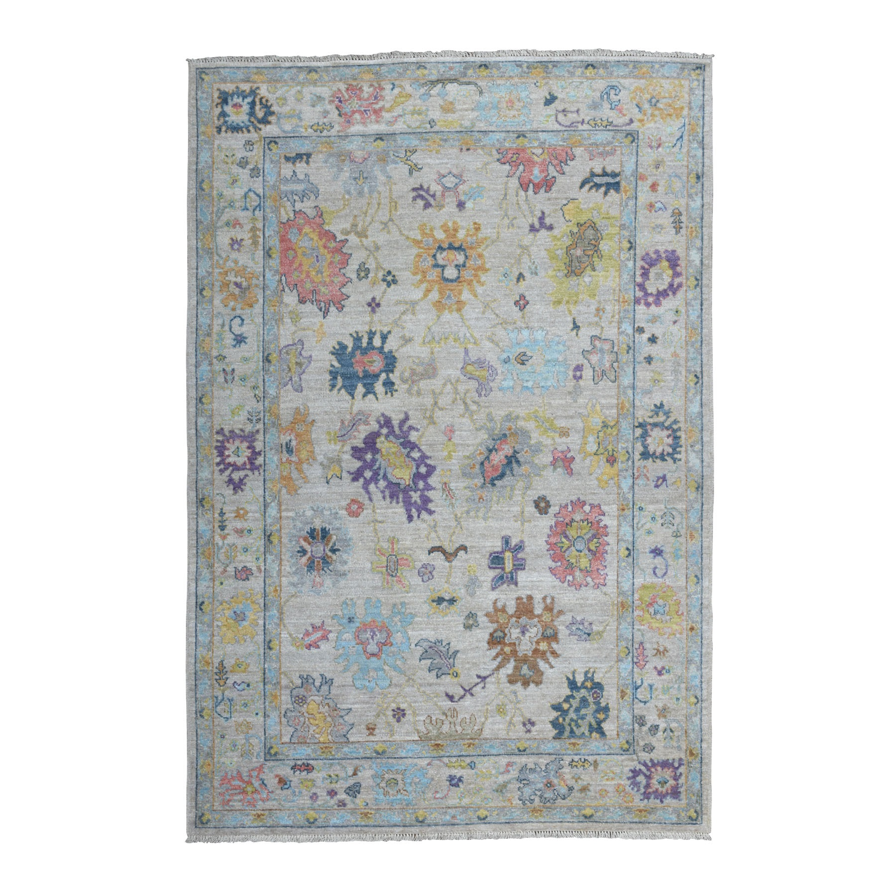 """6'1""""X9' Gray Angora Oushak With Soft Velvety Wool Hand Knotted Oriental Rug moaedcdd"""