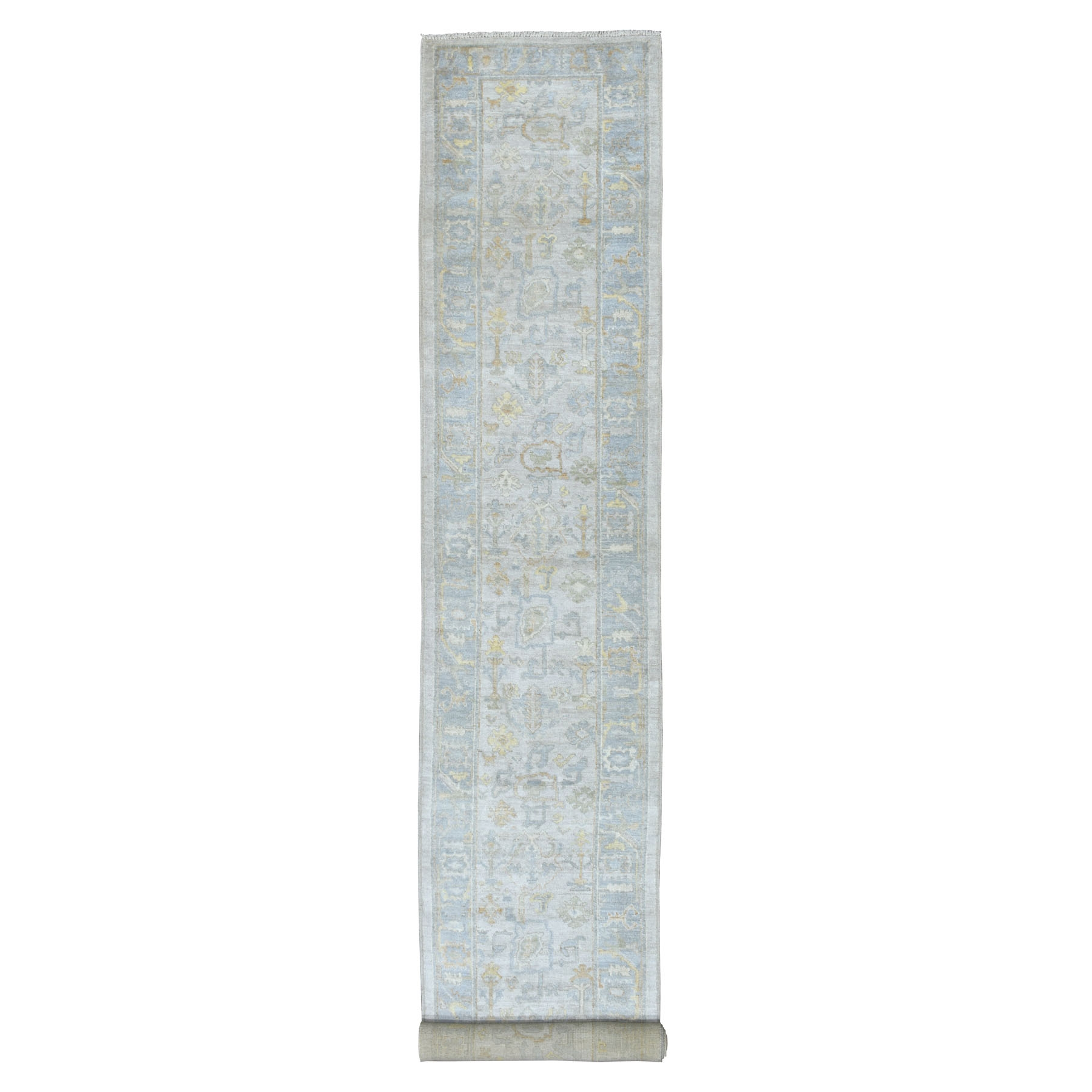 "2'10""X19'1"" Gray Angora Oushak With Soft Velvety Wool Xl Runner Hand Knotted Oriental Rug moaedcd8"