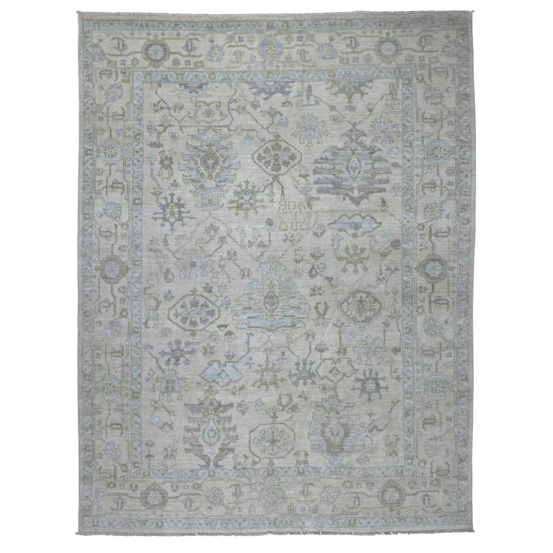 """9'X11'6"""" Ivory Soft Velvety Wool Angora Oushak Hand Knotted Oriental Rug moaedcea"""