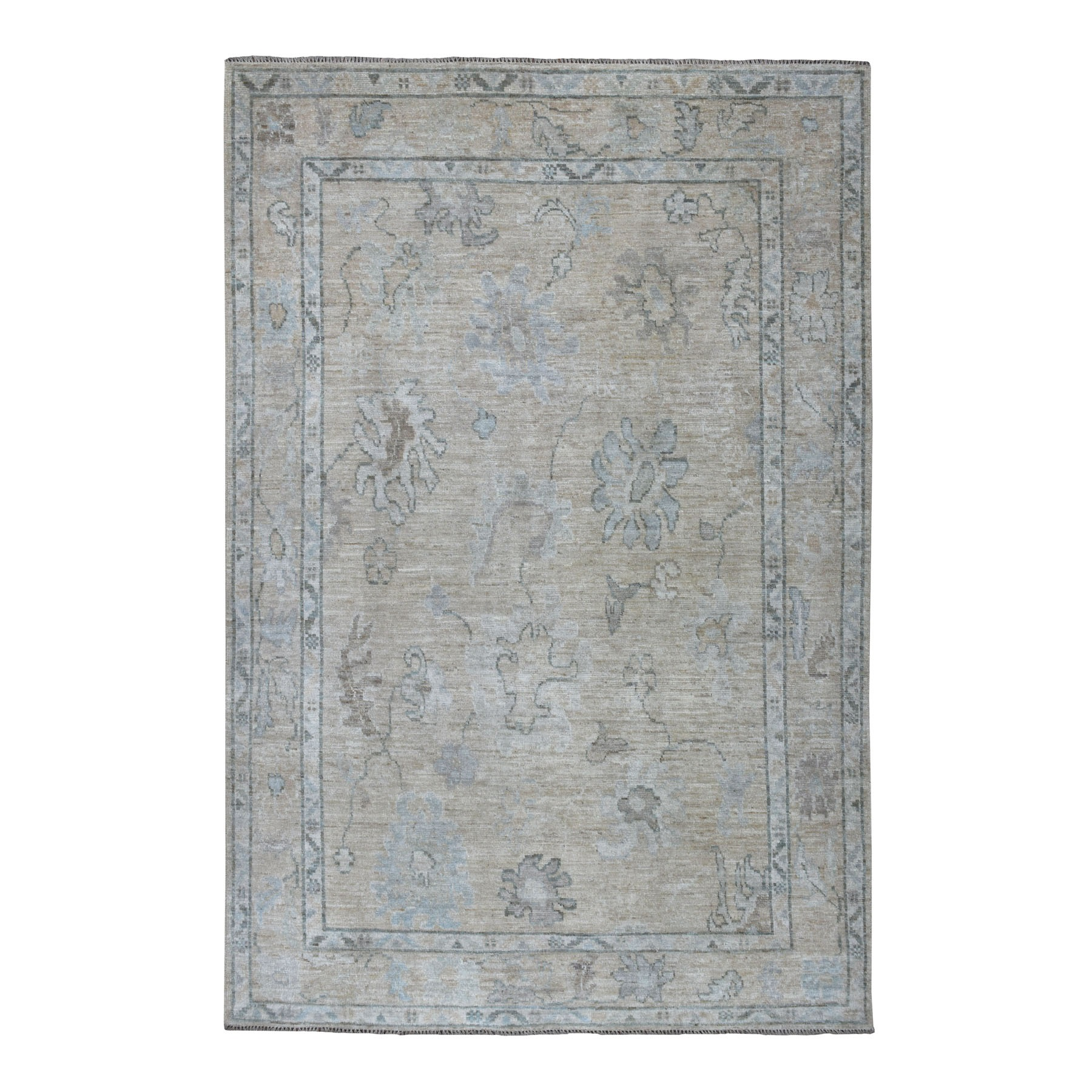 "6'3""X9'2"" Gray Angora Oushak With Soft Wool Hand Knotted Oriental Rug moaedc6a"