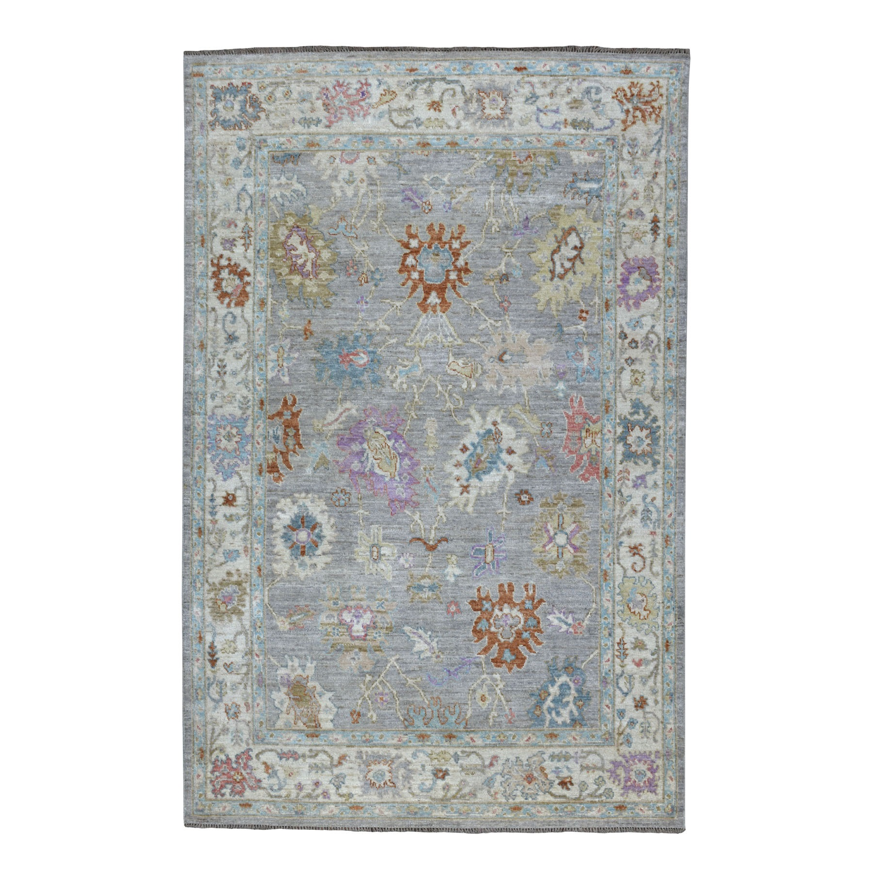 """6'2""""x9'3"""" Angora Oushak With Soft Velvety wool Hand Knotted Oriental Rug 54363"""