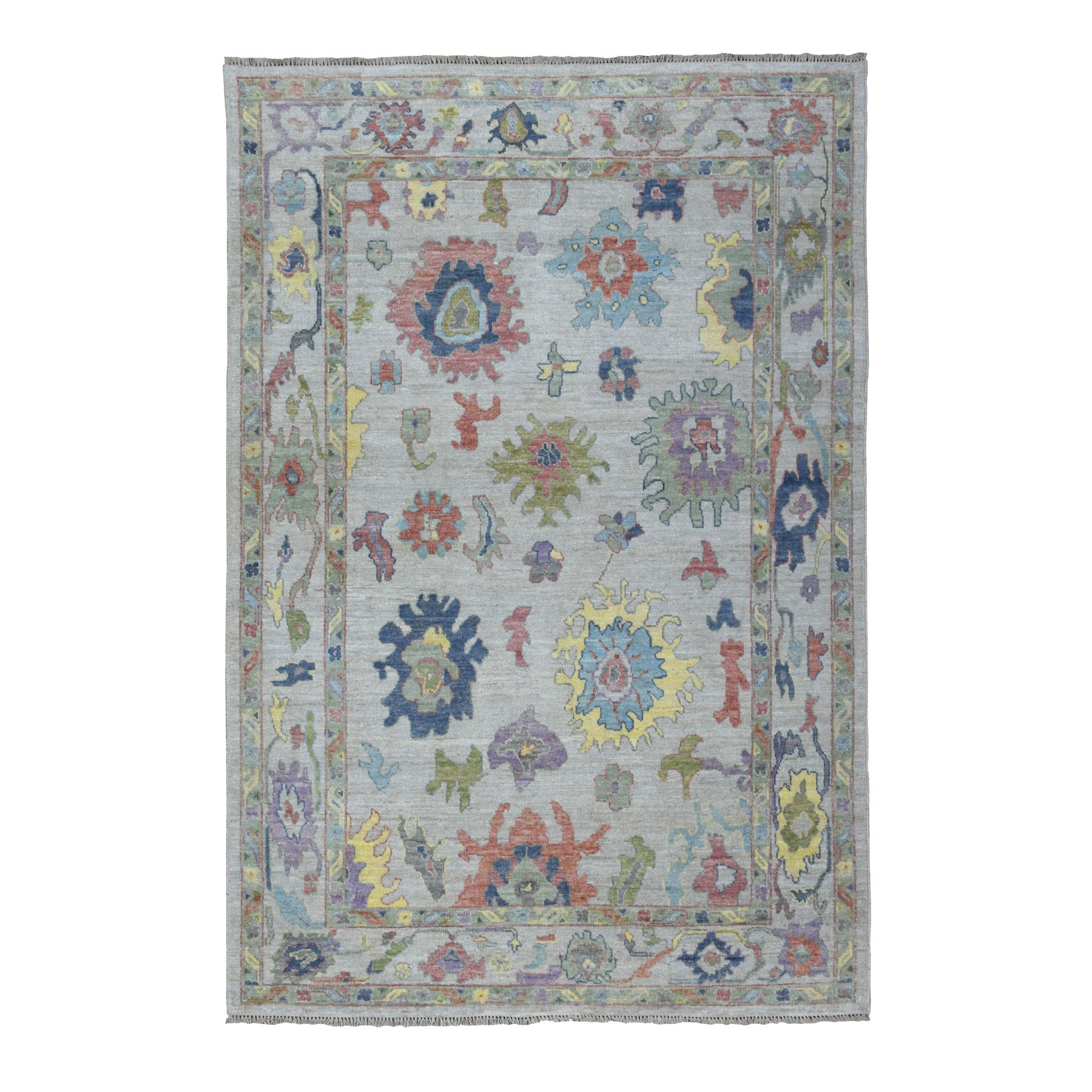 """6'3""""X8'8"""" Gray Angora Oushak With Soft Silky Wool Hand Knotted Oriental Rug moaedc6d"""