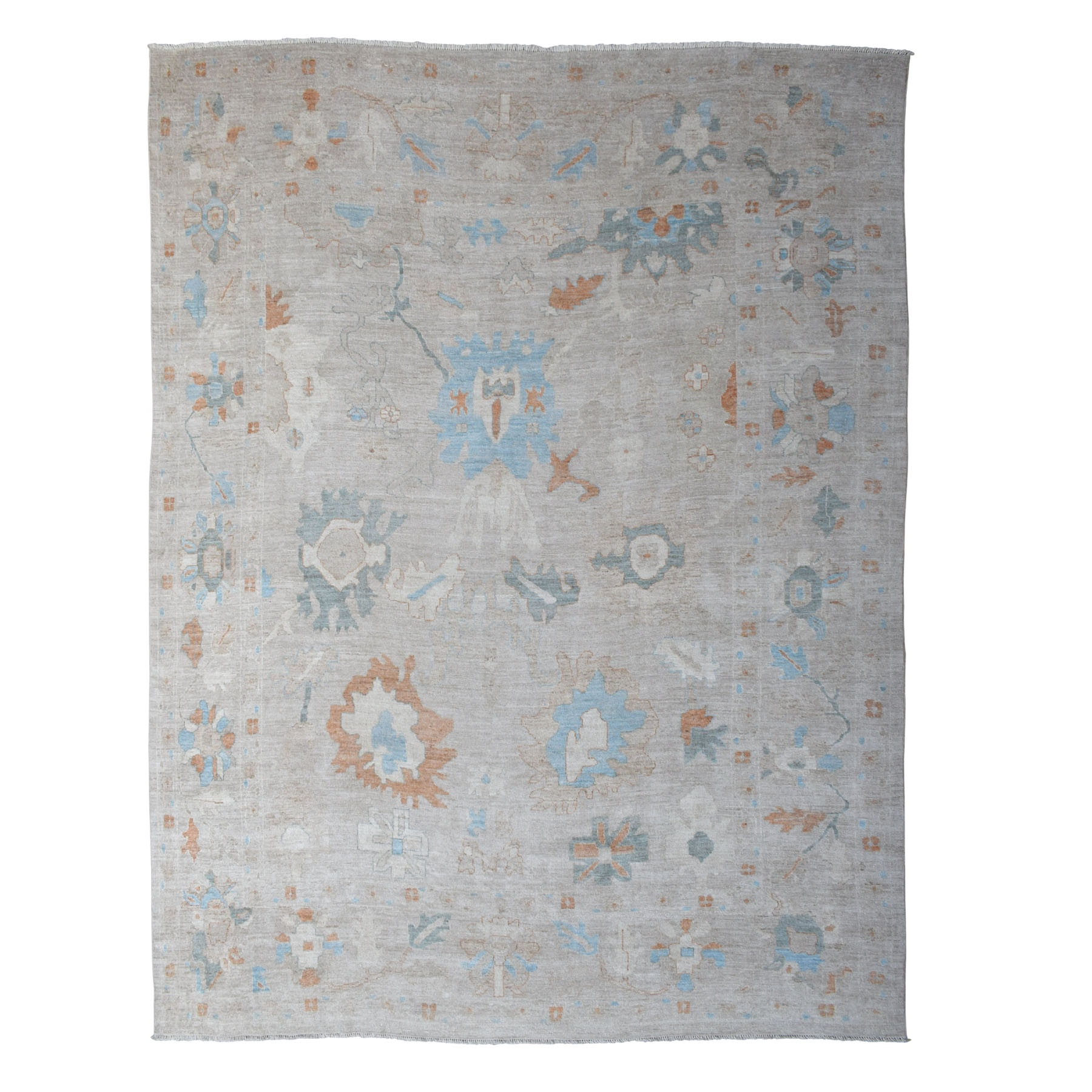 """12'X14'7"""" Gray Oversized Angora Oushak With Soft Velvety Wool Hand Knotted Rug moaedc67"""