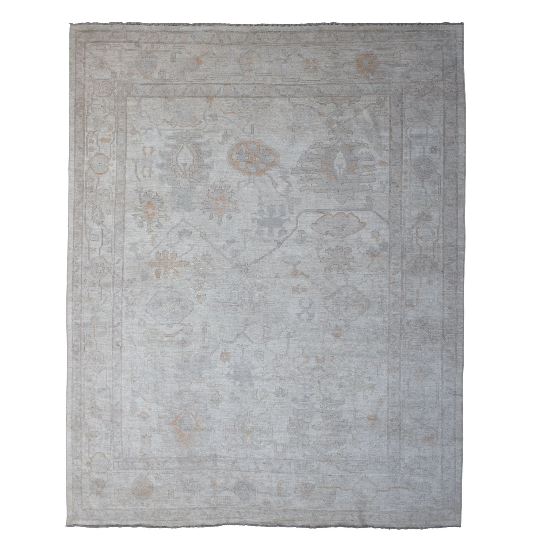 "12'1""X14'8"" Ivory Oversized Angora Oushak With Soft Silky Wool Hand Knotted Oriental Rug moaedc68"