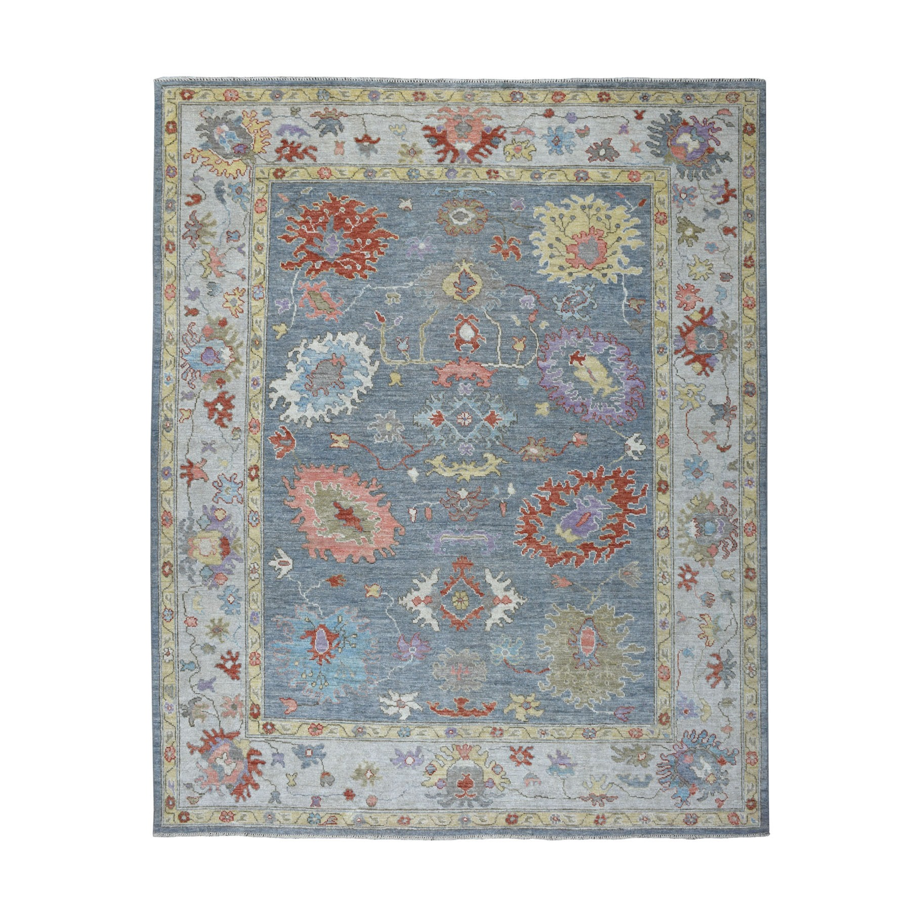 "8'5""X10'9"" Gray Angora Oushak With Silky Wool Hand Knotted Oriental Rug moaedc7c"
