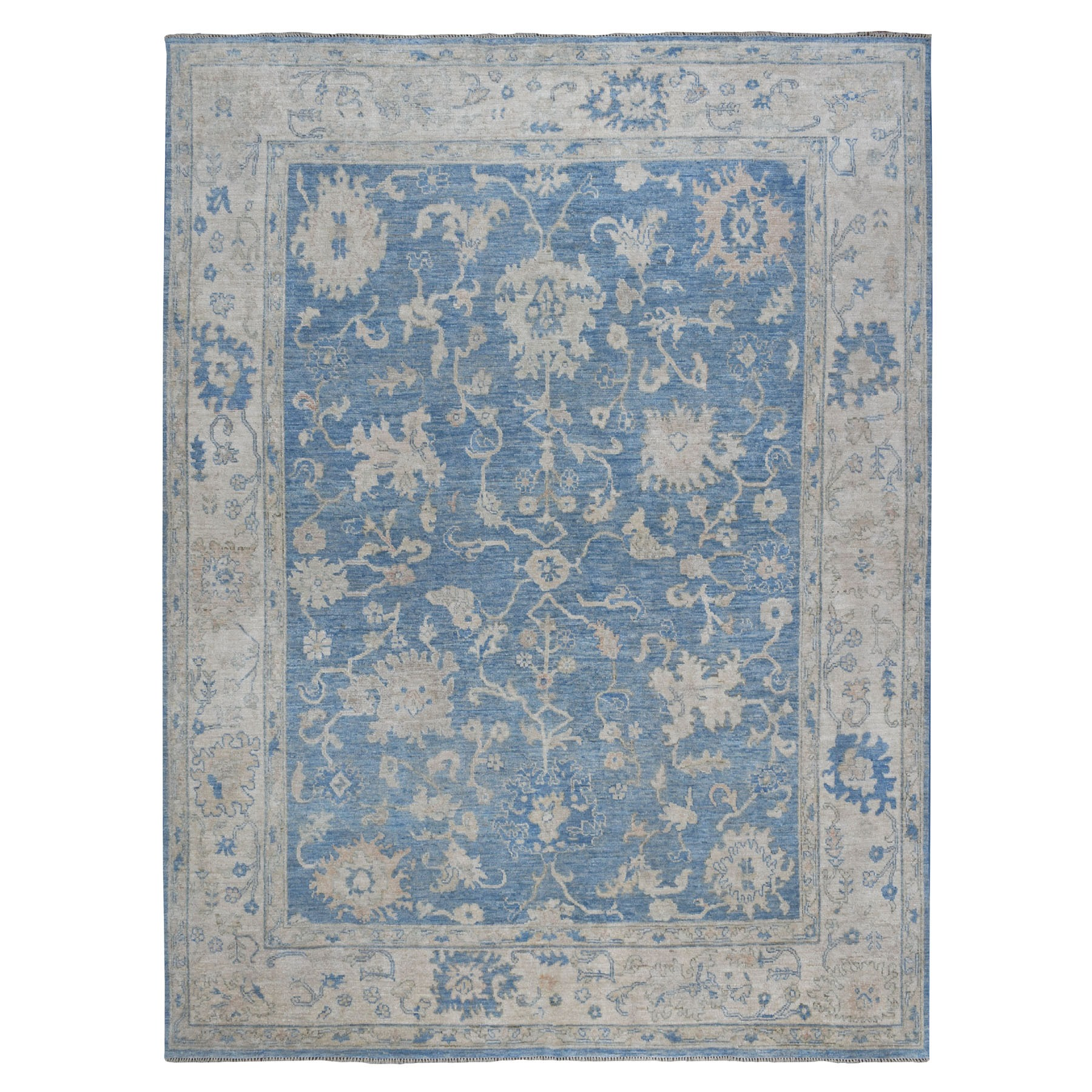 "9'X11'1"" Blue Angora Oushak With Soft Velvety Wool Hand Knotted Oriental Rug moaedc7e"