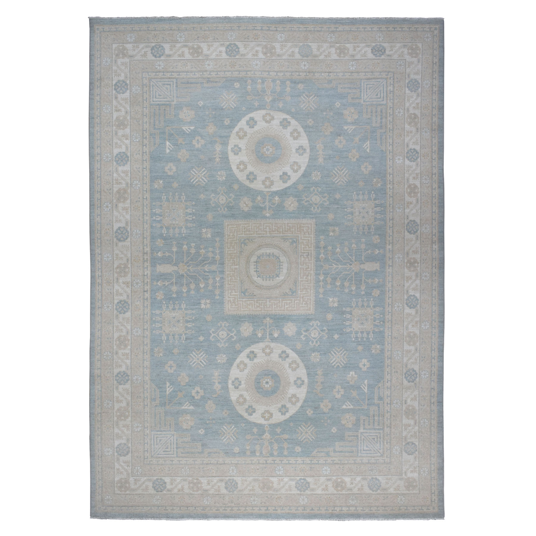 "10'x13'10"" Blue Peshawar with Khotan Design Pure Wool Hand Knotted Oriental Rug"