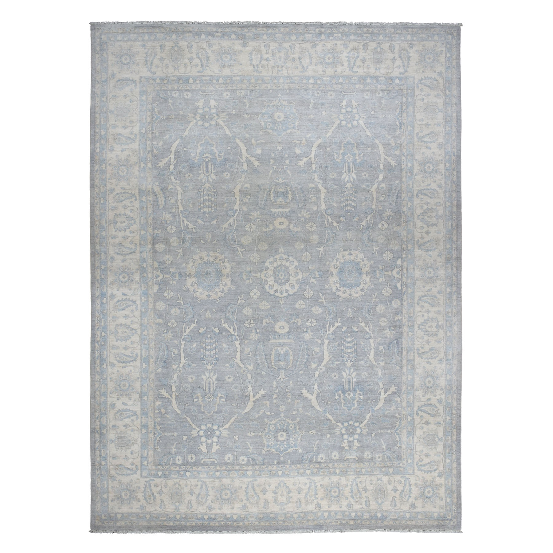 "9'9""x13'5"" Gray Stone Wash Peshawar Pure Wool Hand Knotted Oriental Rug"