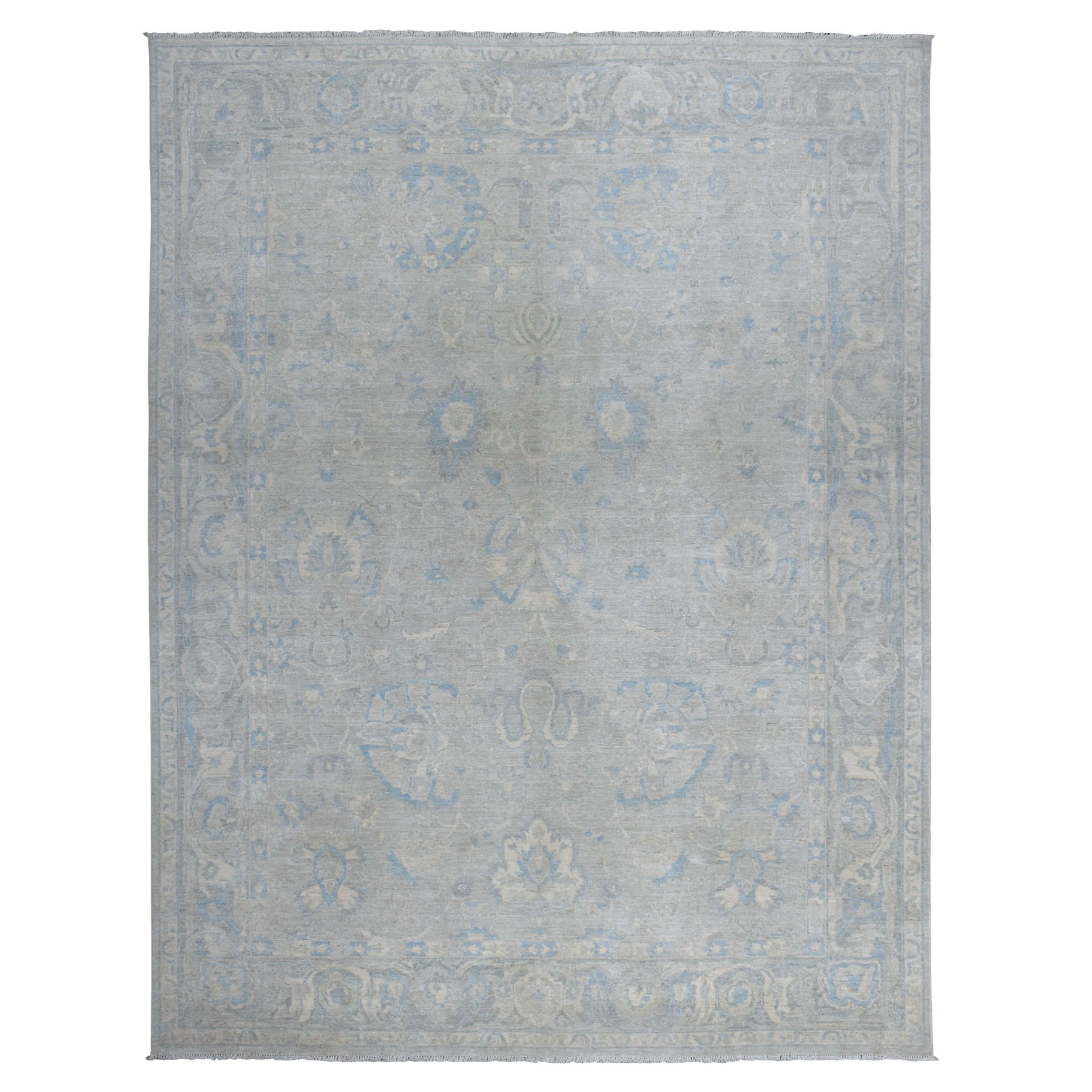 9'x12' Gray Stone Wash Peshawar Pure Wool Hand Knotted Oriental Rug
