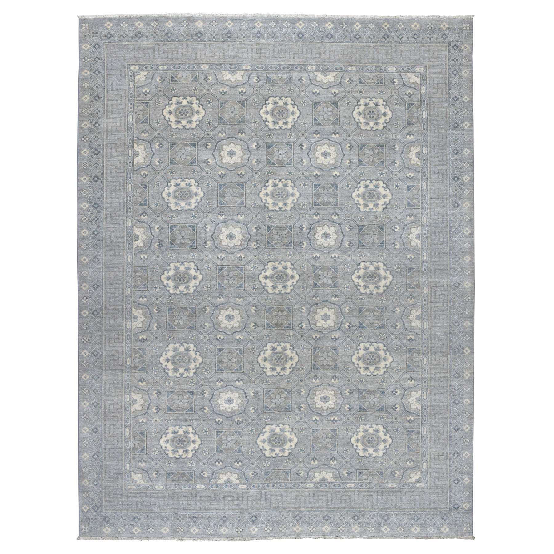 "9'x11'8"" Gray Peshawar with Khotan Design Pure Wool Hand Knotted Oriental Rug"