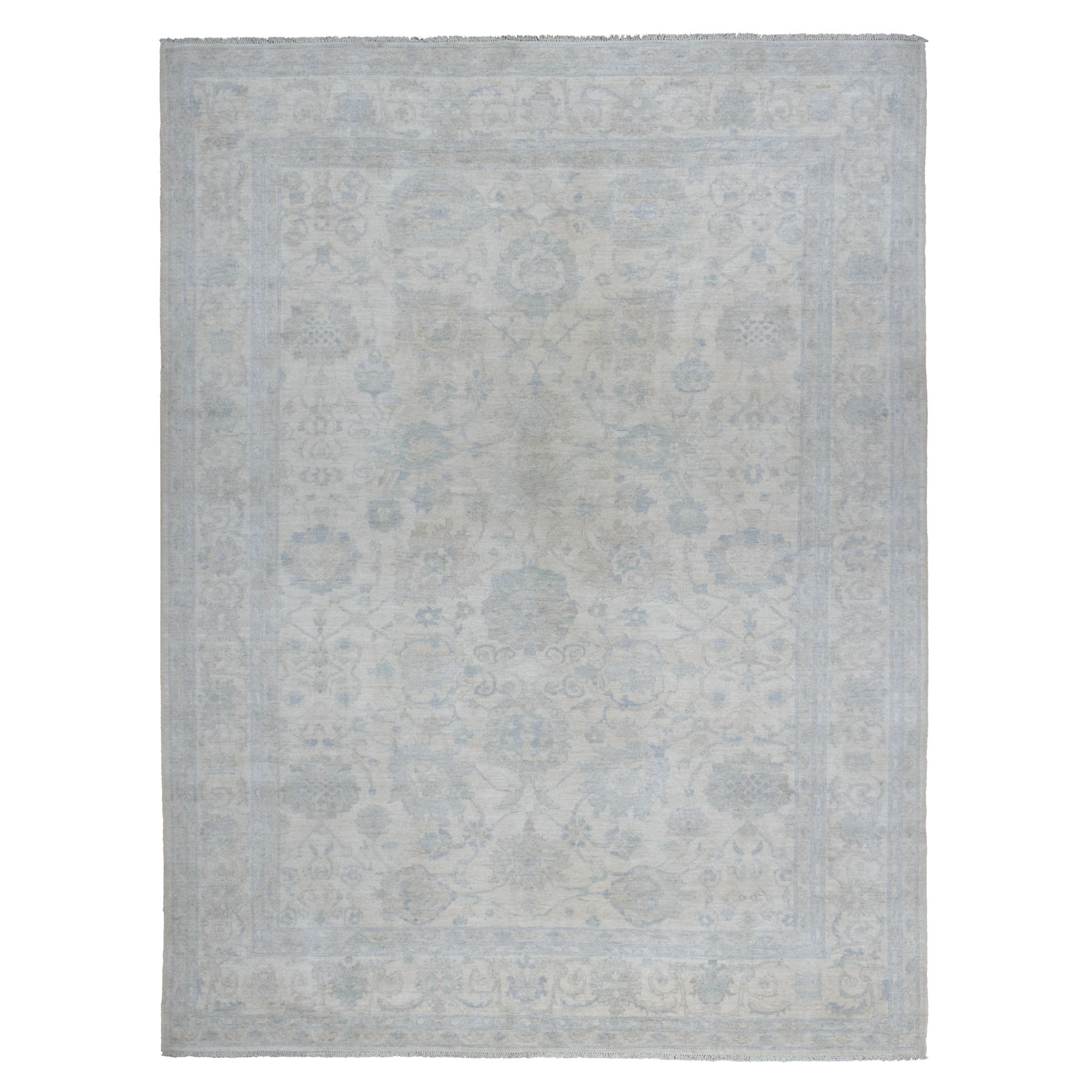 "9'x11'8"" White Wash Peshawar Pure Wool Hand Knotted Oriental Rug"