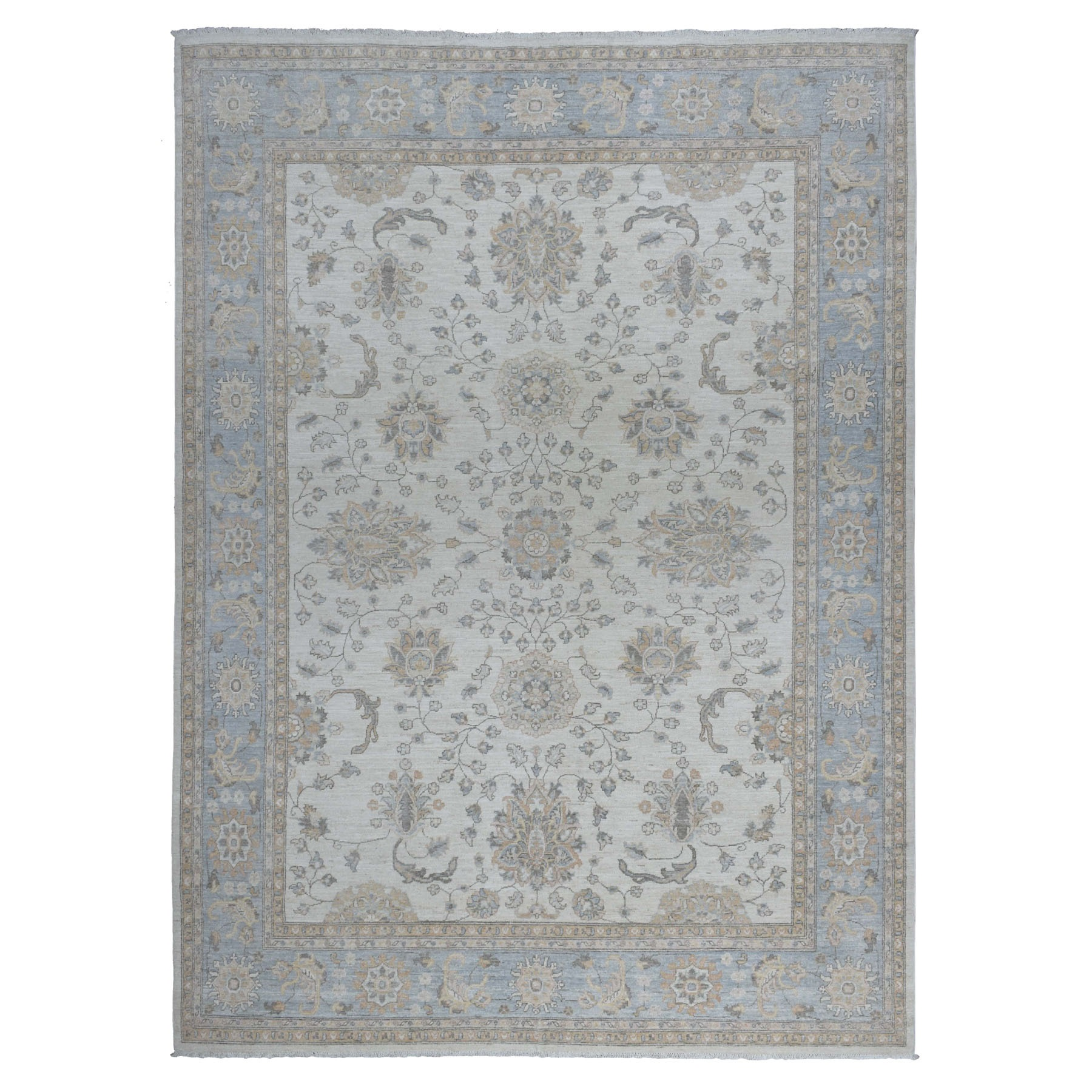 "8'9""x12'1"" White Peshawar Organic Wool Hand Knotted Oriental Rug"