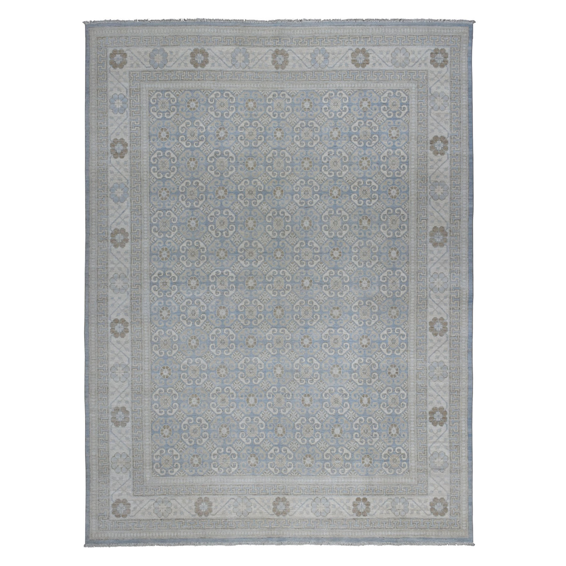 "8'10""x11'8"" Blue Stone Wash Peshawar with Khotan Design Pure Wool Hand Knotted Oriental Rug"