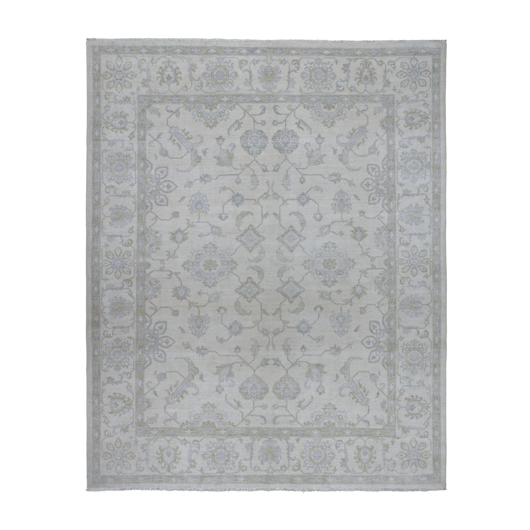 "8'5""x9'7"" Ivory Washed Out Peshawar Natural Wool Hand Knotted Oriental Rug"