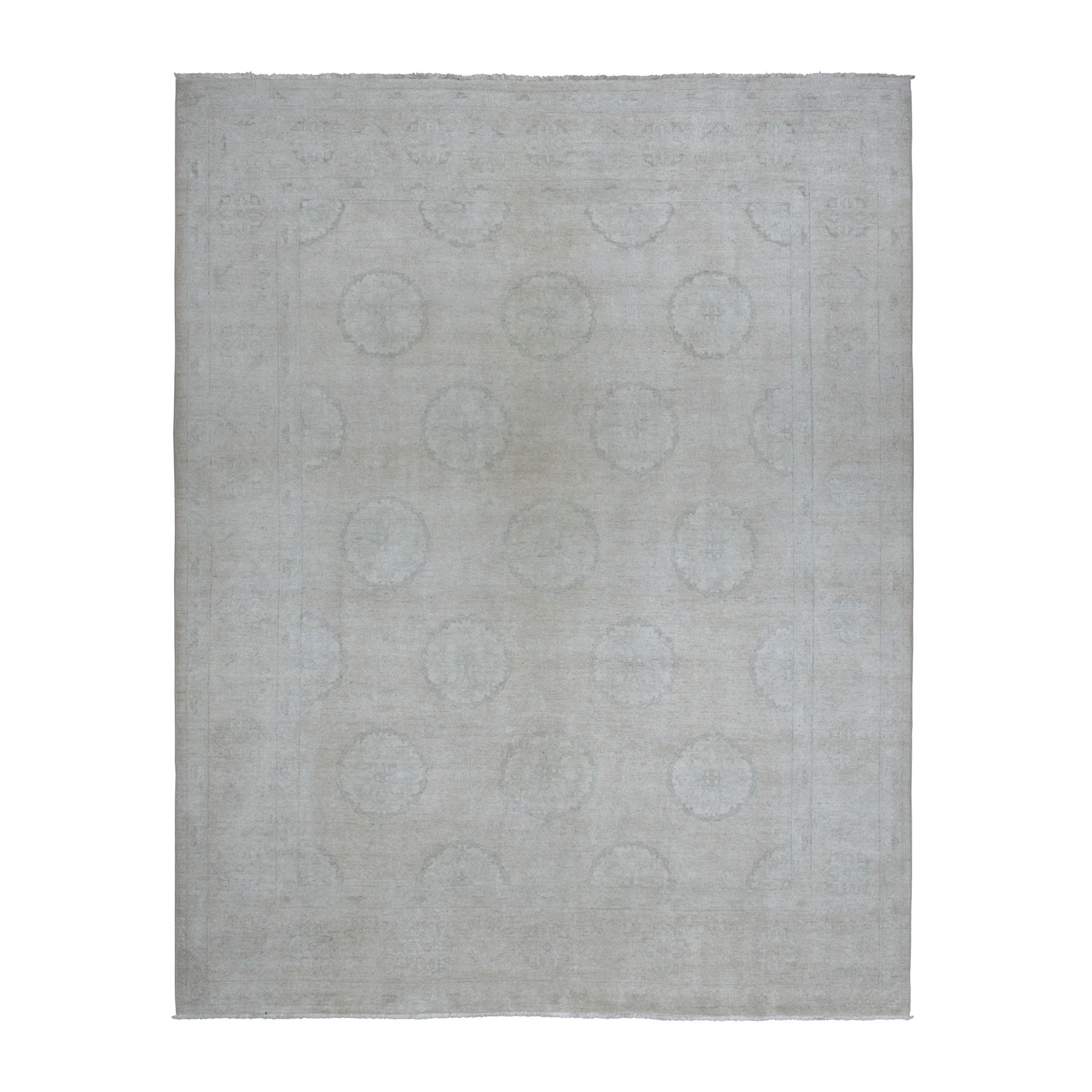 "8'x10'3"" White Peshawar with Khotan Design Pure Wool Hand Knotted Oriental Rug"