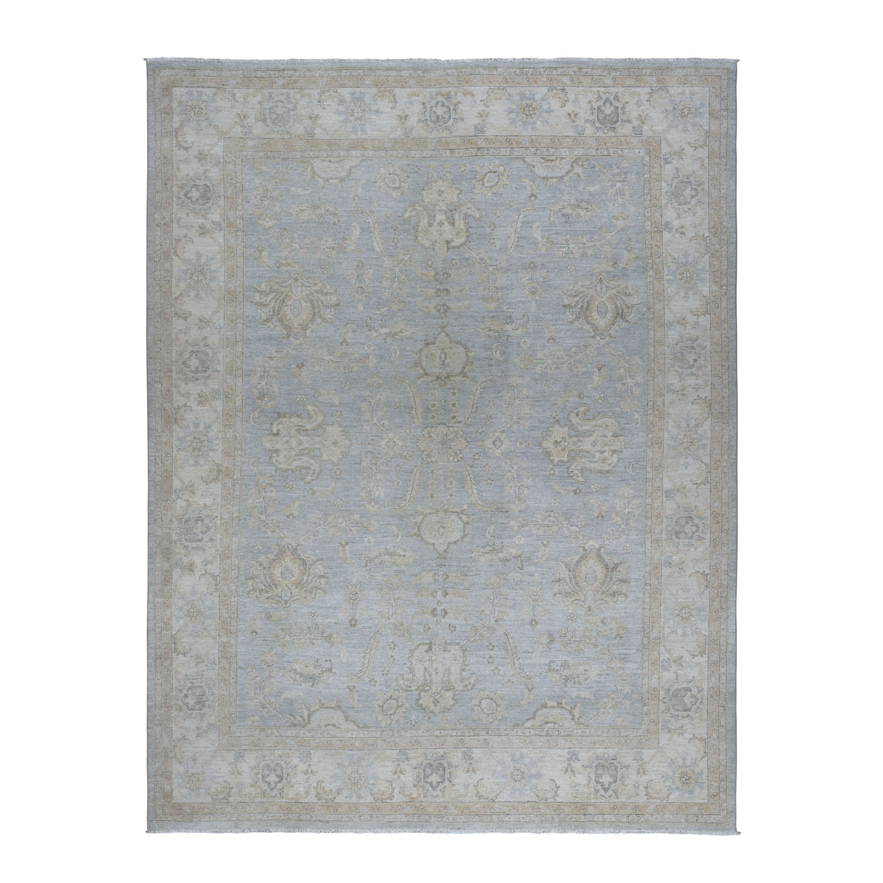 "7'10""x10'9"" Gray Stone Wash Peshawar Pure Wool Hand Knotted Oriental Rug"