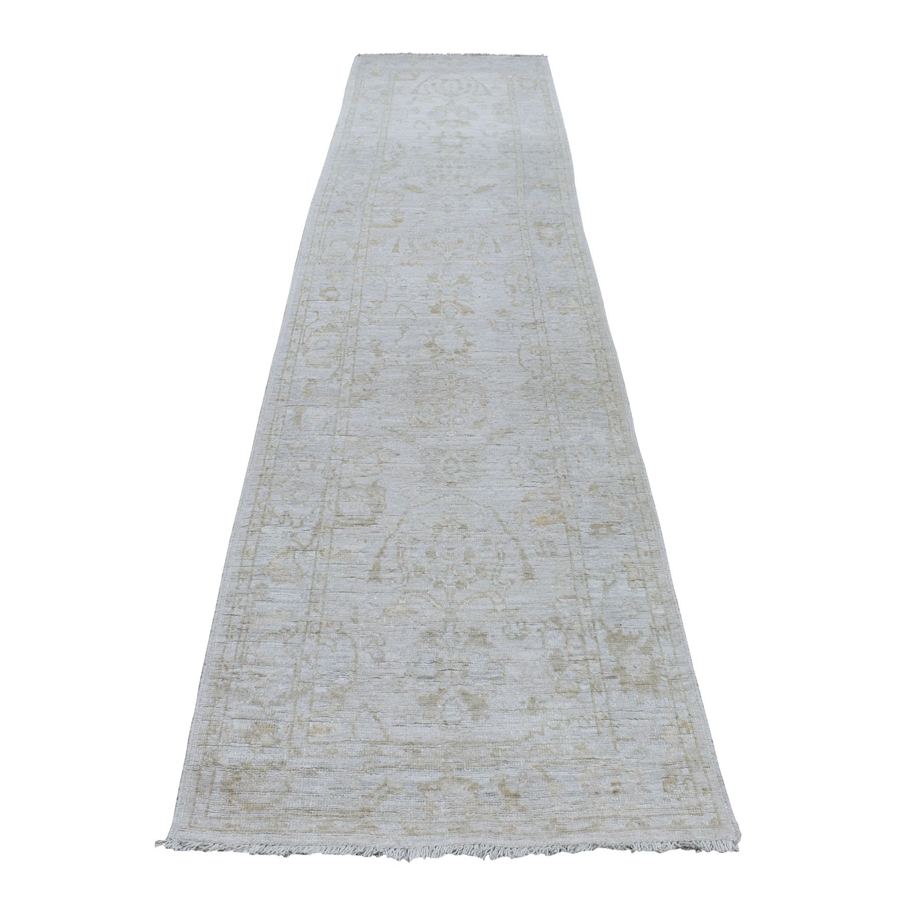 "2'9""x11'8"" Silver Angora Oushak With Soft Wool Hand Knotted Runner Oriental Rug"