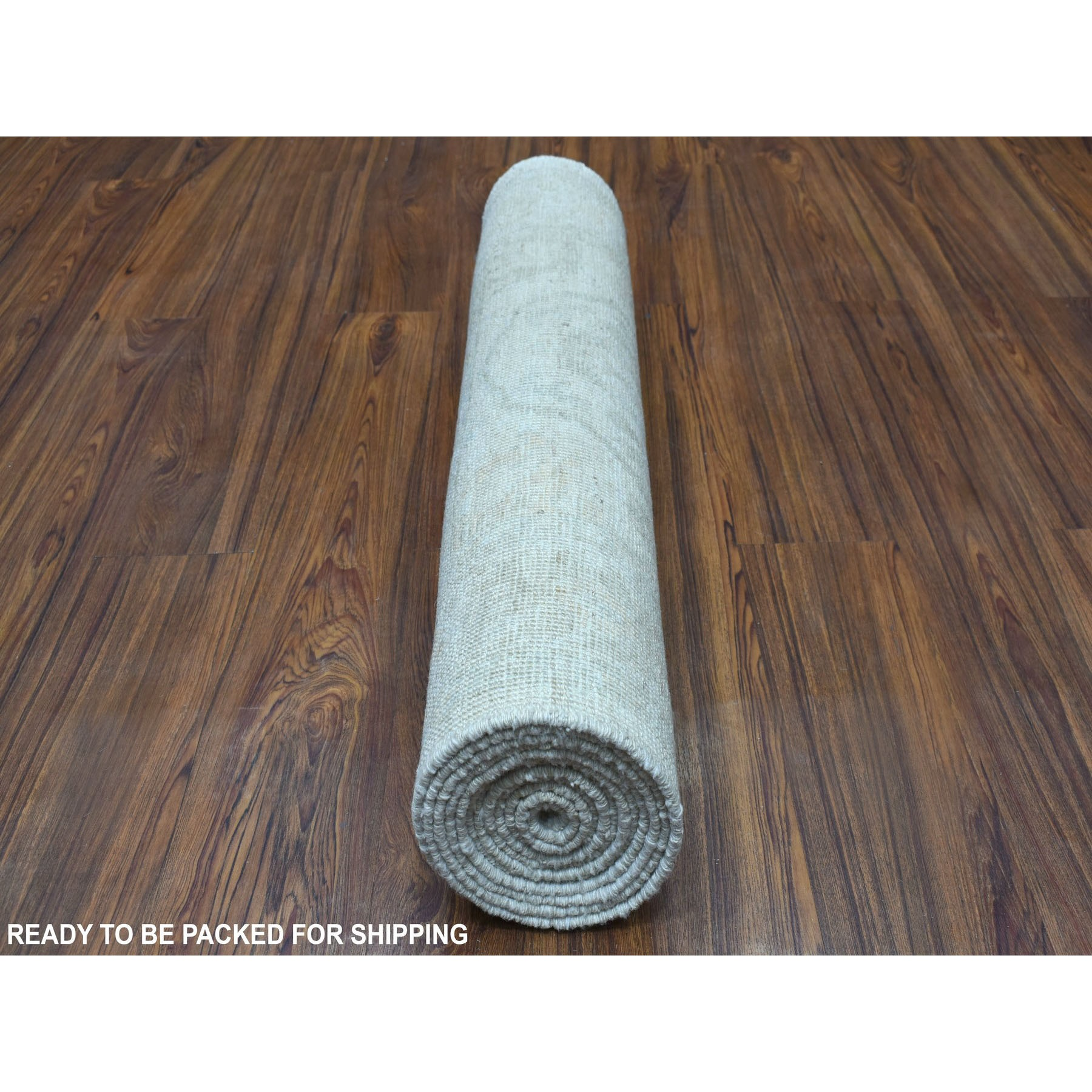 """2'9""""x11'8"""" Silver Angora Oushak With Soft Wool Hand Knotted Runner Oriental Rug"""