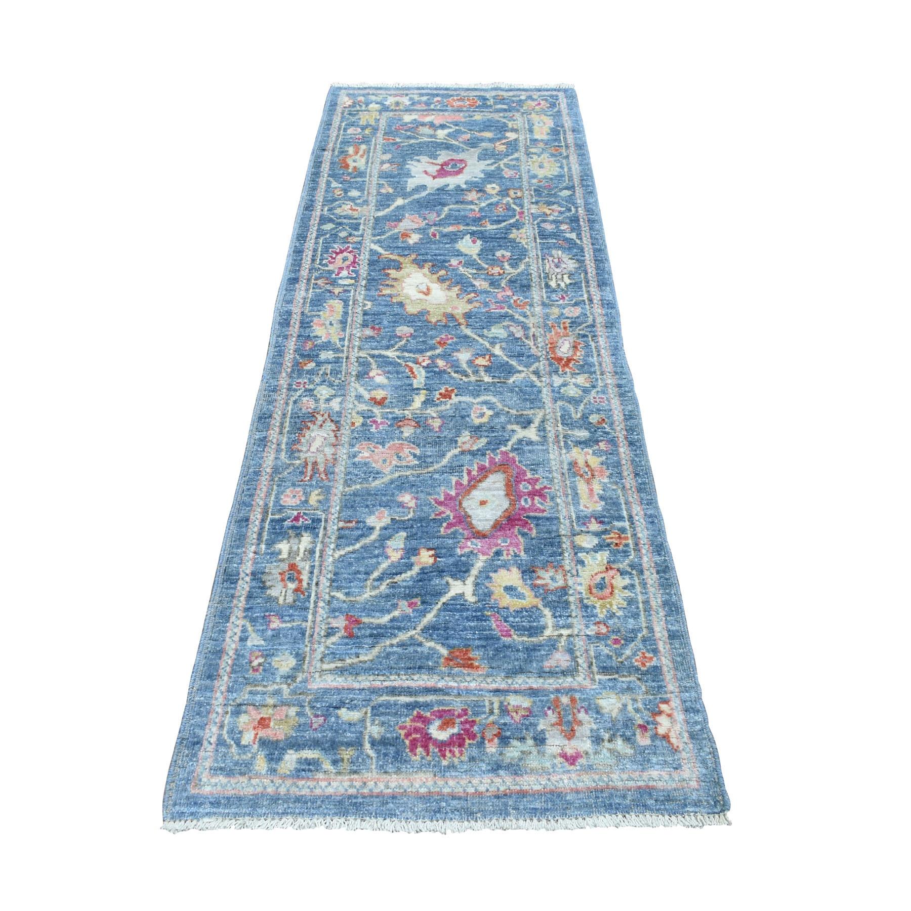 "2'8""X7'10"" Blue Angora Oushak With Soft Velvety Wool Runner Hand Knotted Oriental Rug moaeddb7"