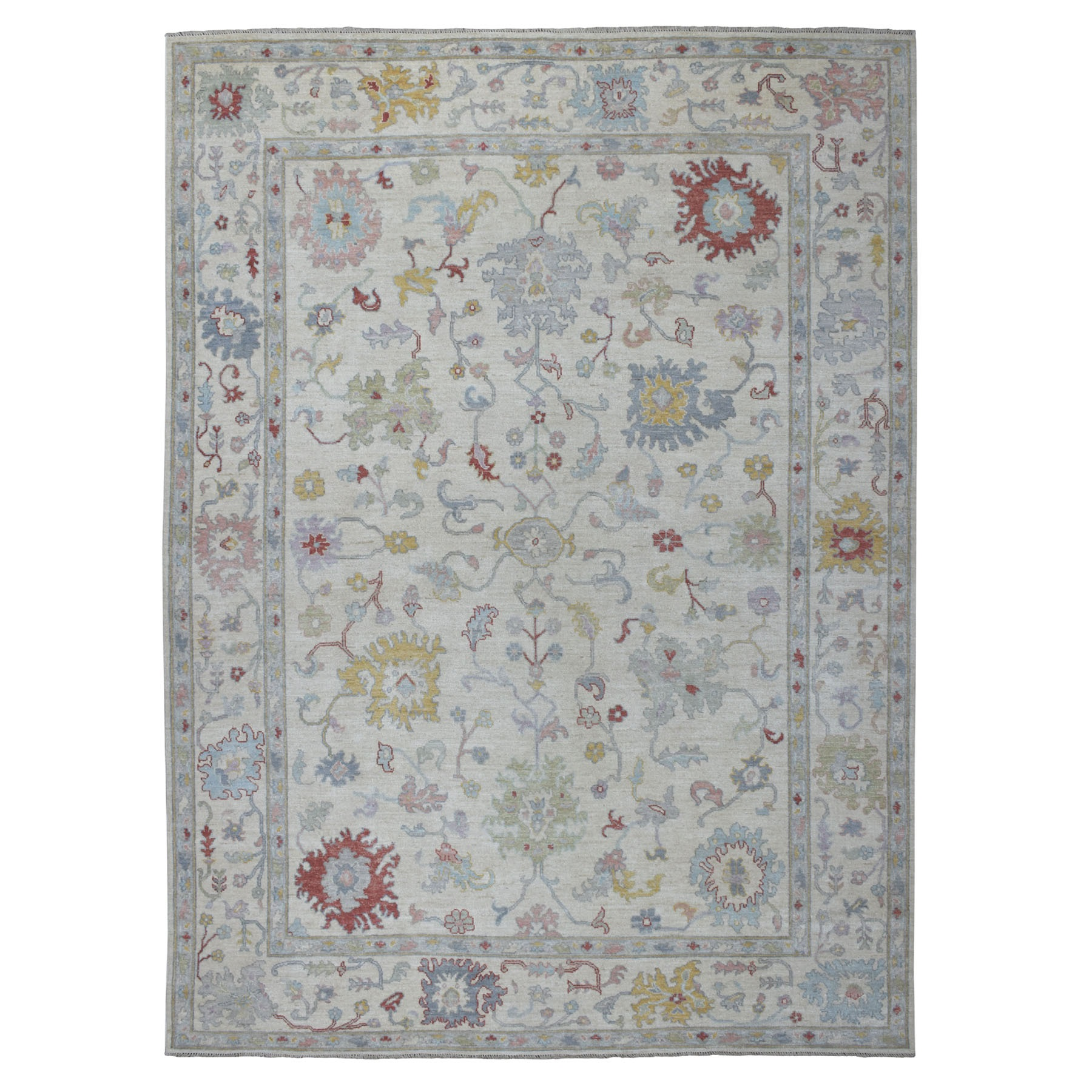 """8'10""""X12'5"""" Ivory Soft Velvety Wool Angora Oushak Hand Knotted Oriental Rug moaedde9"""