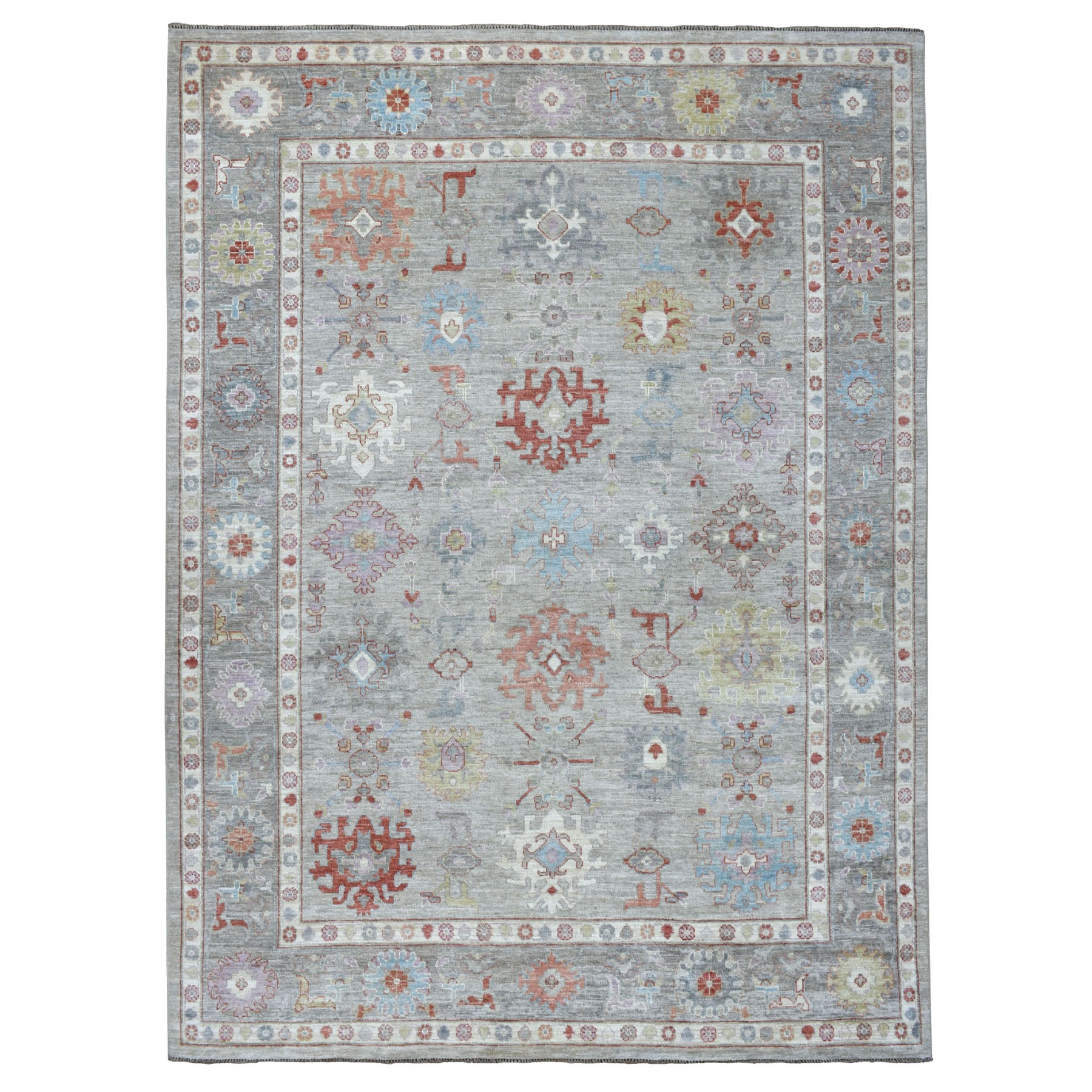 """8'8""""X11'9"""" Gray Angora Oushak With Velvety Wool Hand Knotted Oriental Rug moaedd60"""
