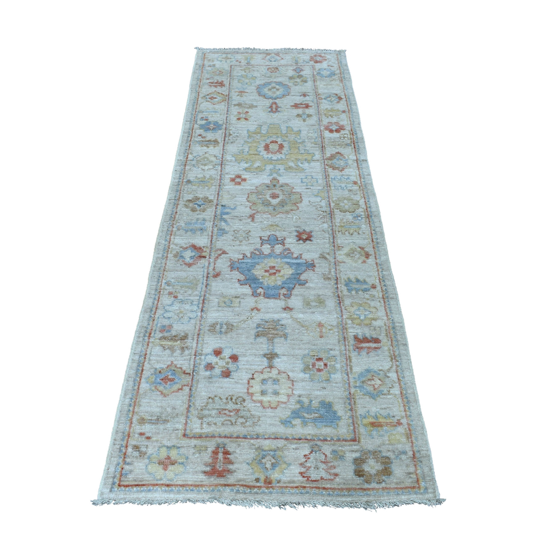 """2'7""""X7'10"""" Gray Angora Oushak With Soft Wool Runner Hand Knotted Oriental Rug moaedd6b"""