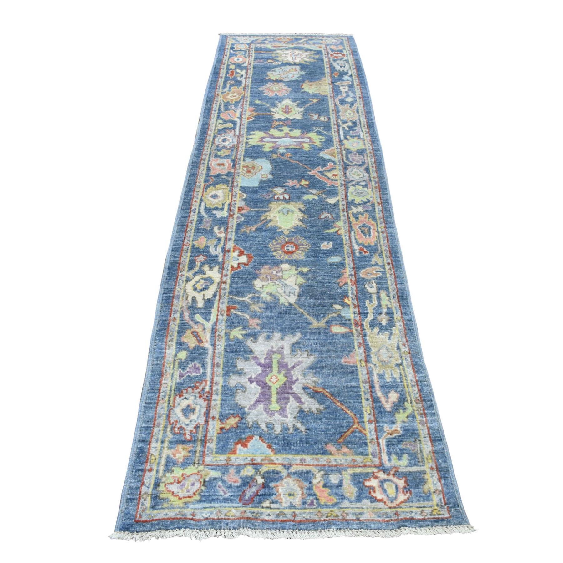 "2'10""X11'7"" Blue Angora Oushak With Soft Velvety Wool Runner Hand Knotted Oriental Rug moaedd7d"