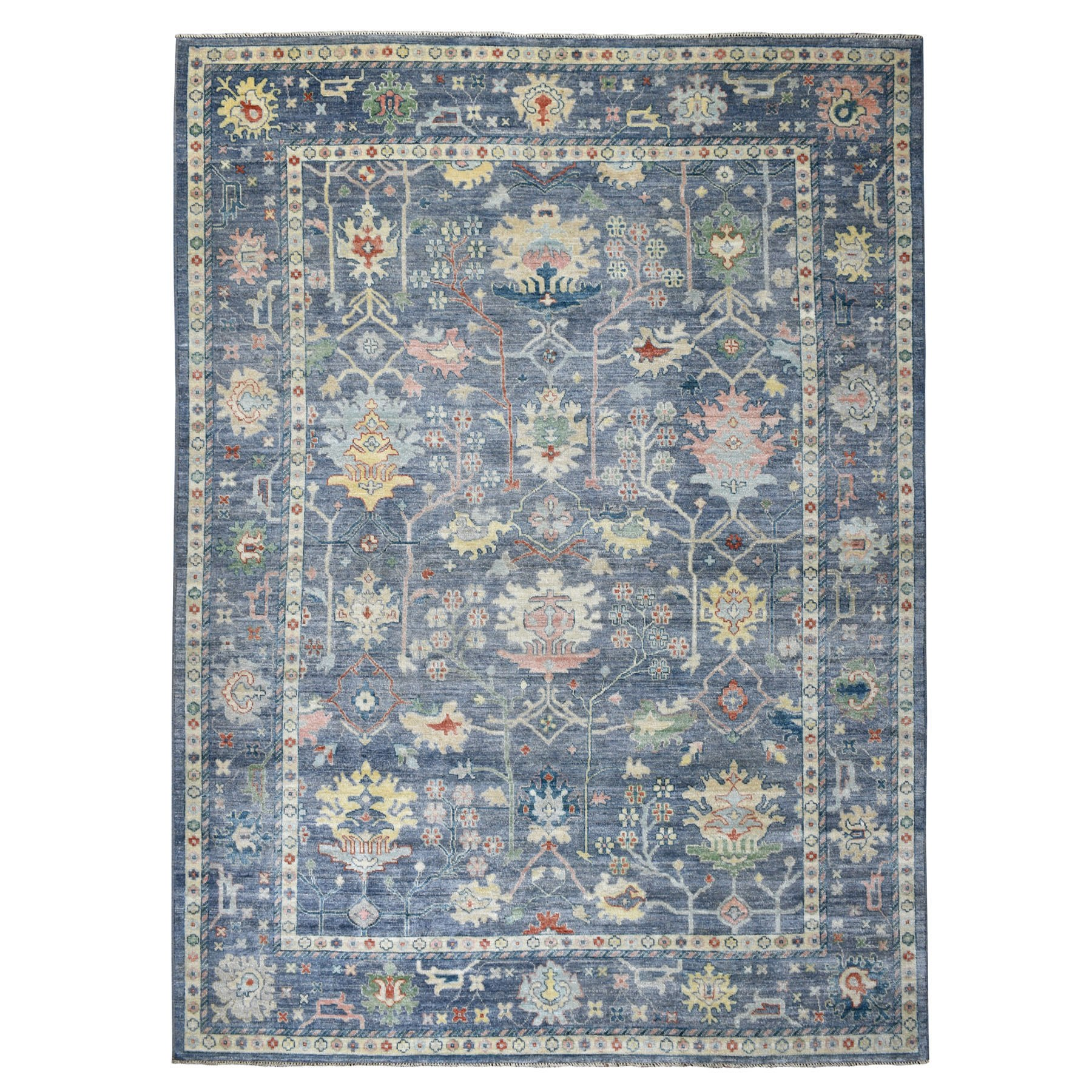 9'X12' Blue Angora Oushak With Soft Velvety Wool Hand Knotted Oriental Rug moaedd77