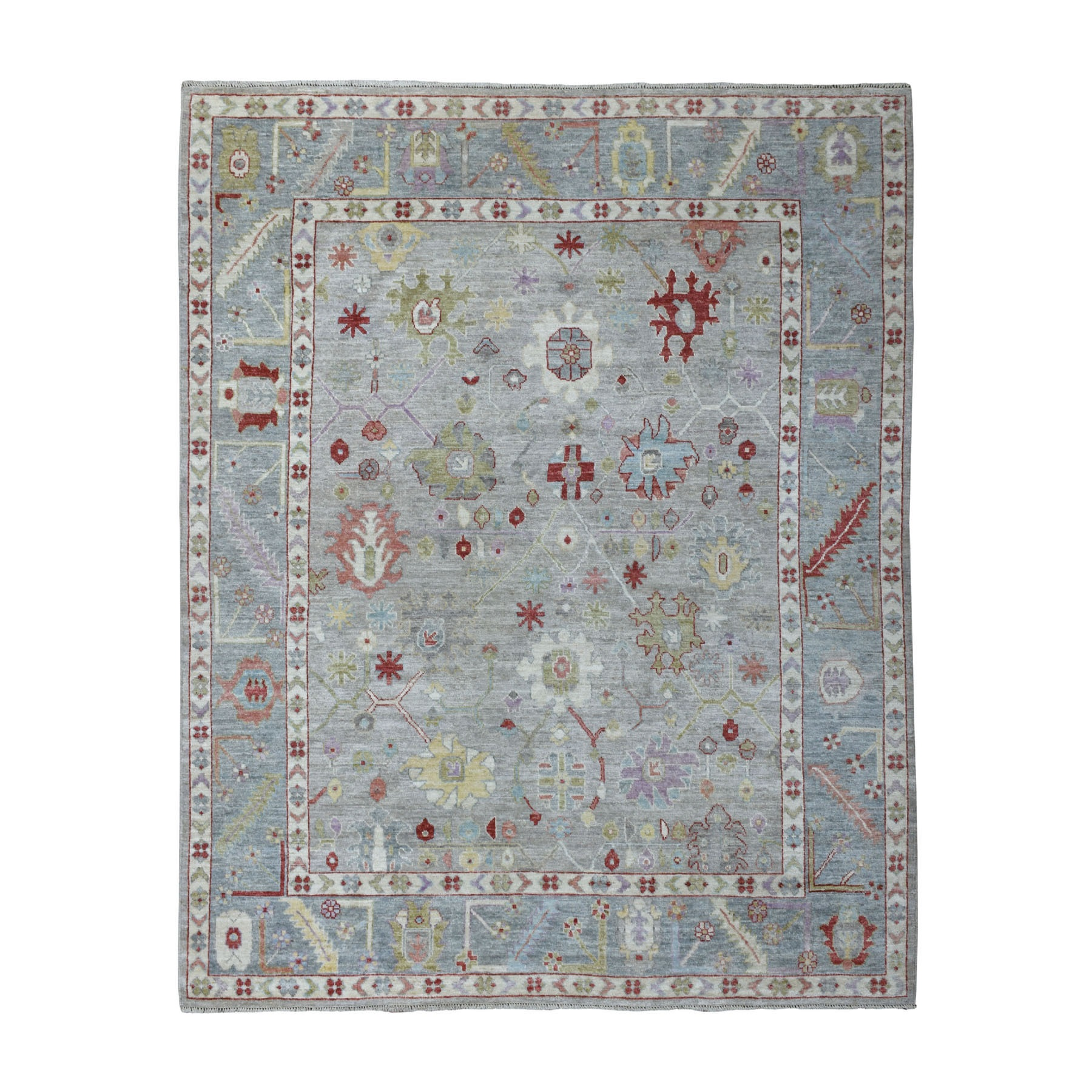 """7'10""""X9'7"""" Gray Angora Oushak With Velvety Wool Hand Knotted Oriental Rug moaedd86"""