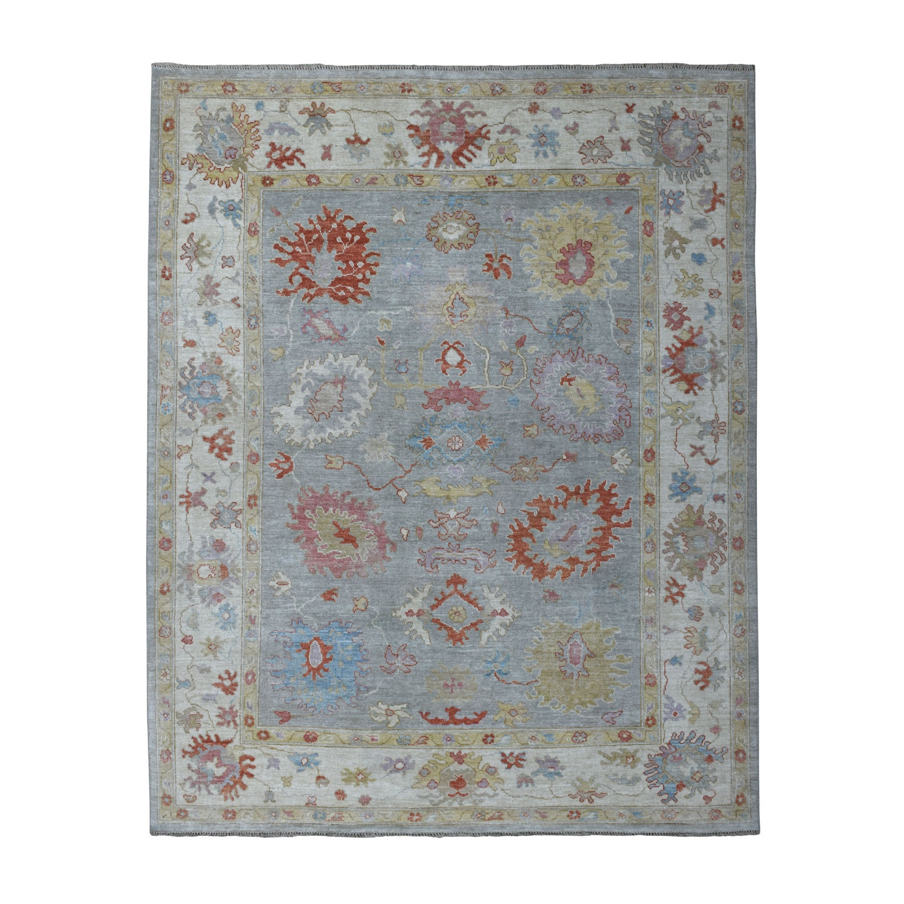 """8'2""""X9'7"""" Gray Angora Oushak With Velvety Wool Hand Knotted Oriental Rug moaedd87"""