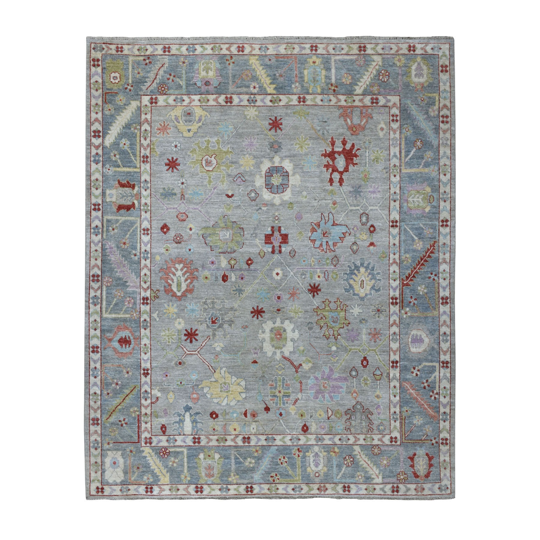 """8'X9'5"""" Gray Angora Oushak With Velvety Wool Hand Knotted Oriental Rug moaedd88"""