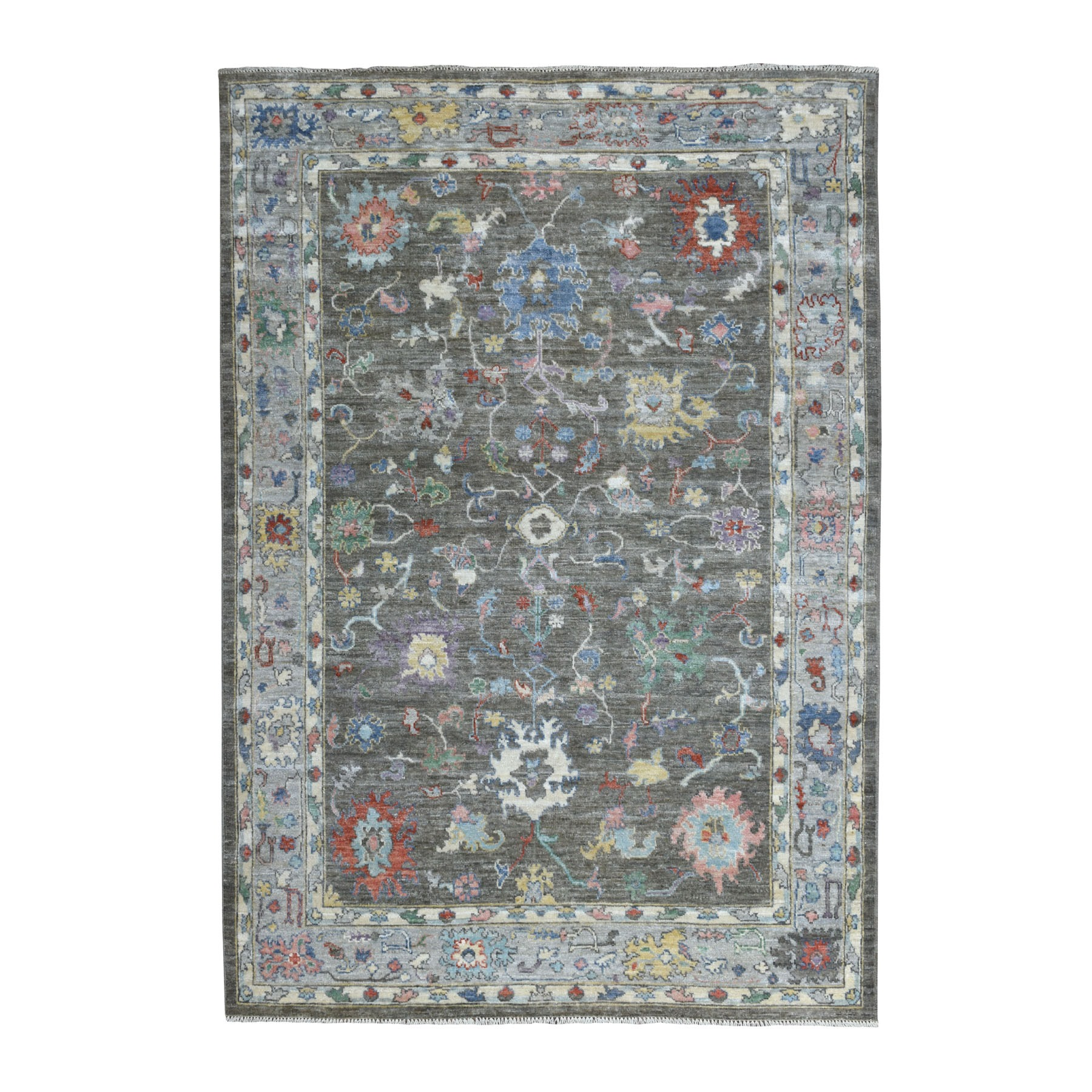 """6'X8'6"""" Charcoal Gray Angora Oushak With Soft Wool Hand Knotted Oriental Rug moaedd9b"""