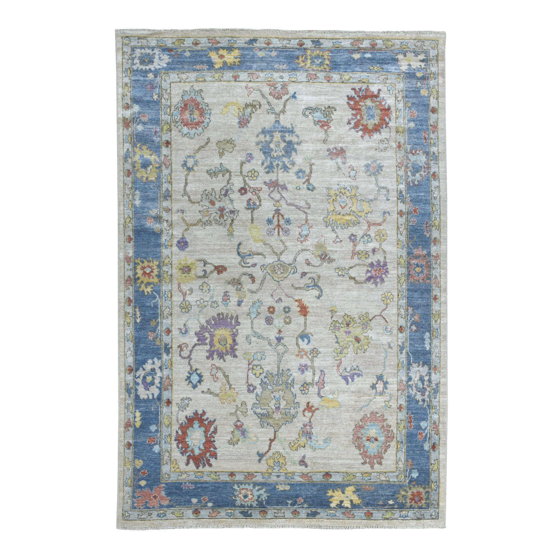 """5'10""""X8'9"""" Ivory Angora Oushak With Velvety Wool Hand Knotted Oriental Rug moaedd9d"""