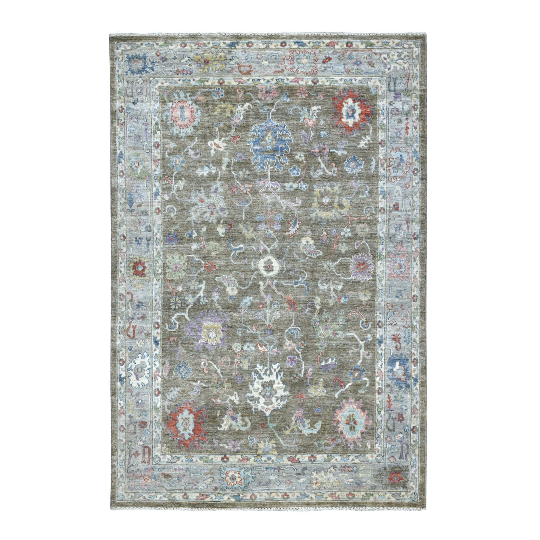 """6'X8'9"""" Charcoal Gray Angora Oushak With Soft Velvety Wool Hand Knotted Oriental Rug moaedd9e"""