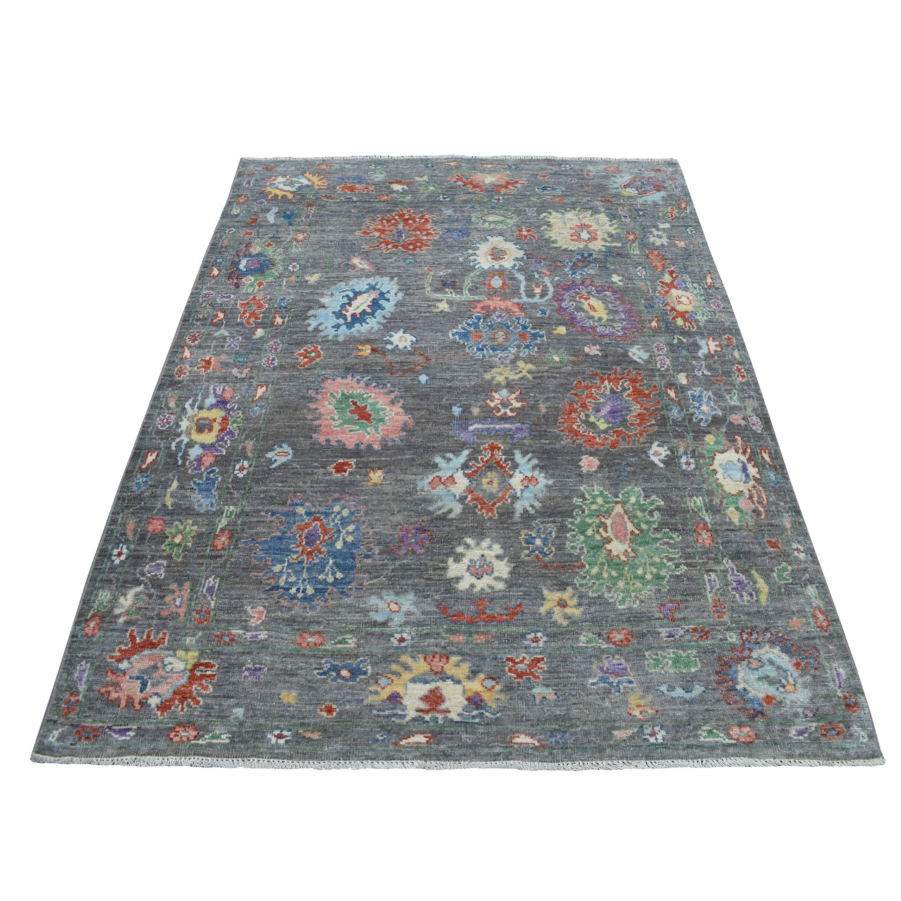 """4'8""""X6'4"""" Charcoal Gray Angora Oushak With Soft Wool Hand Knotted Oriental Rug moaedd99"""