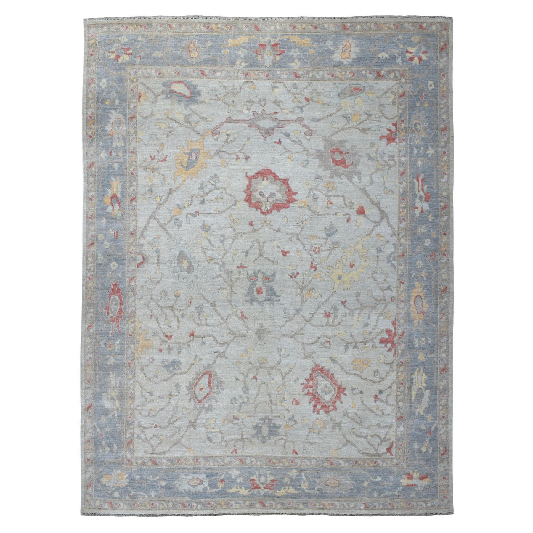 """8'8""""X11'5"""" Ivory Angora Oushak With Velvety Wool Hand Knotted Oriental Rug moaede06"""