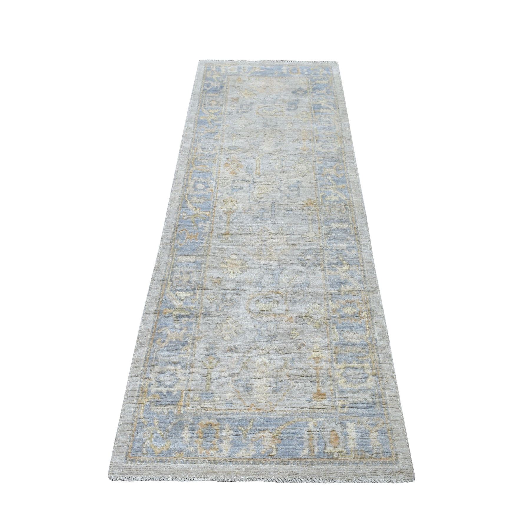 """2'6""""X7'9"""" Ivory Angora Oushak With Soft Velvety Wool Runner Hand Knotted Oriental Rug moaedeae"""