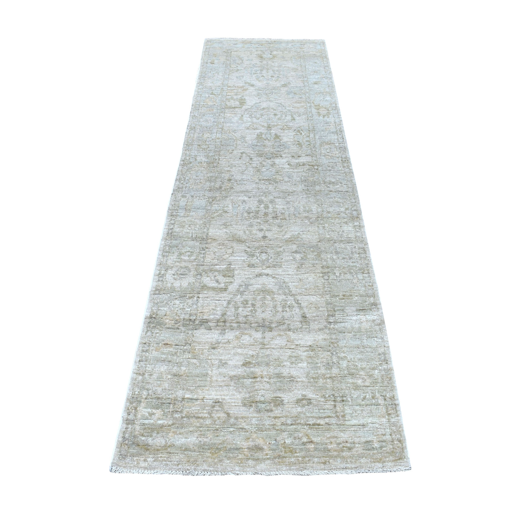 """2'7""""X9'5"""" Ivory Angora Oushak With Soft Velvety Wool Runner Hand Knotted Oriental Rug moaedea7"""