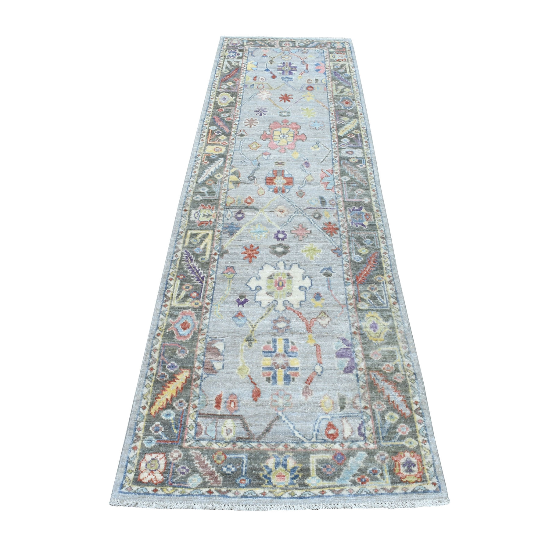 """2'8""""X10' Gray Angora Oushak With Soft Velvety Wool Runner Hand Knotted Oriental Rug moaedea8"""